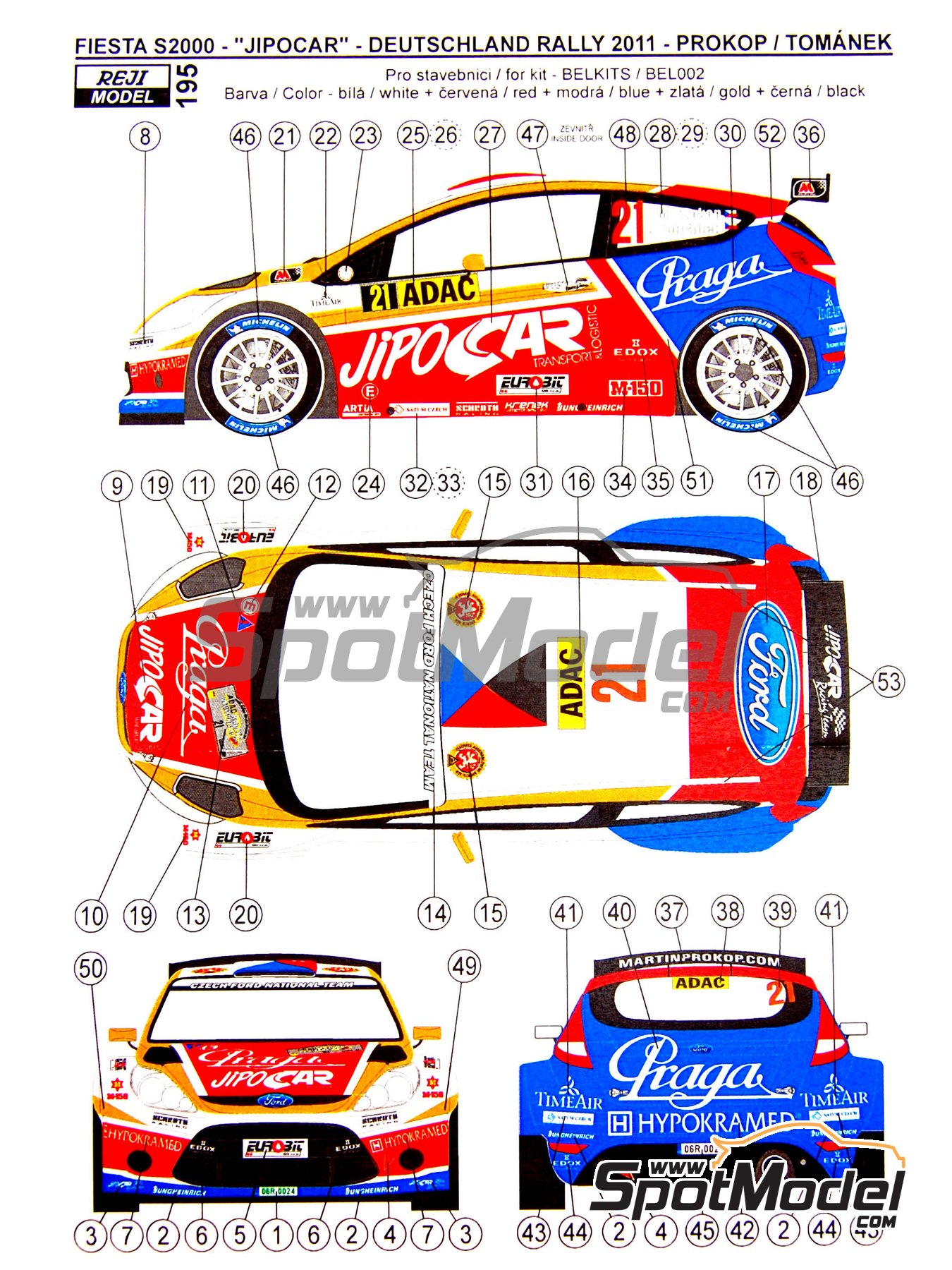 Ford Fiesta S2000 Jipo Car - Rally de Alemania ADAC 2011 | Decoración en escala 1/24 fabricado por Reji Model (ref. REJI-195) image