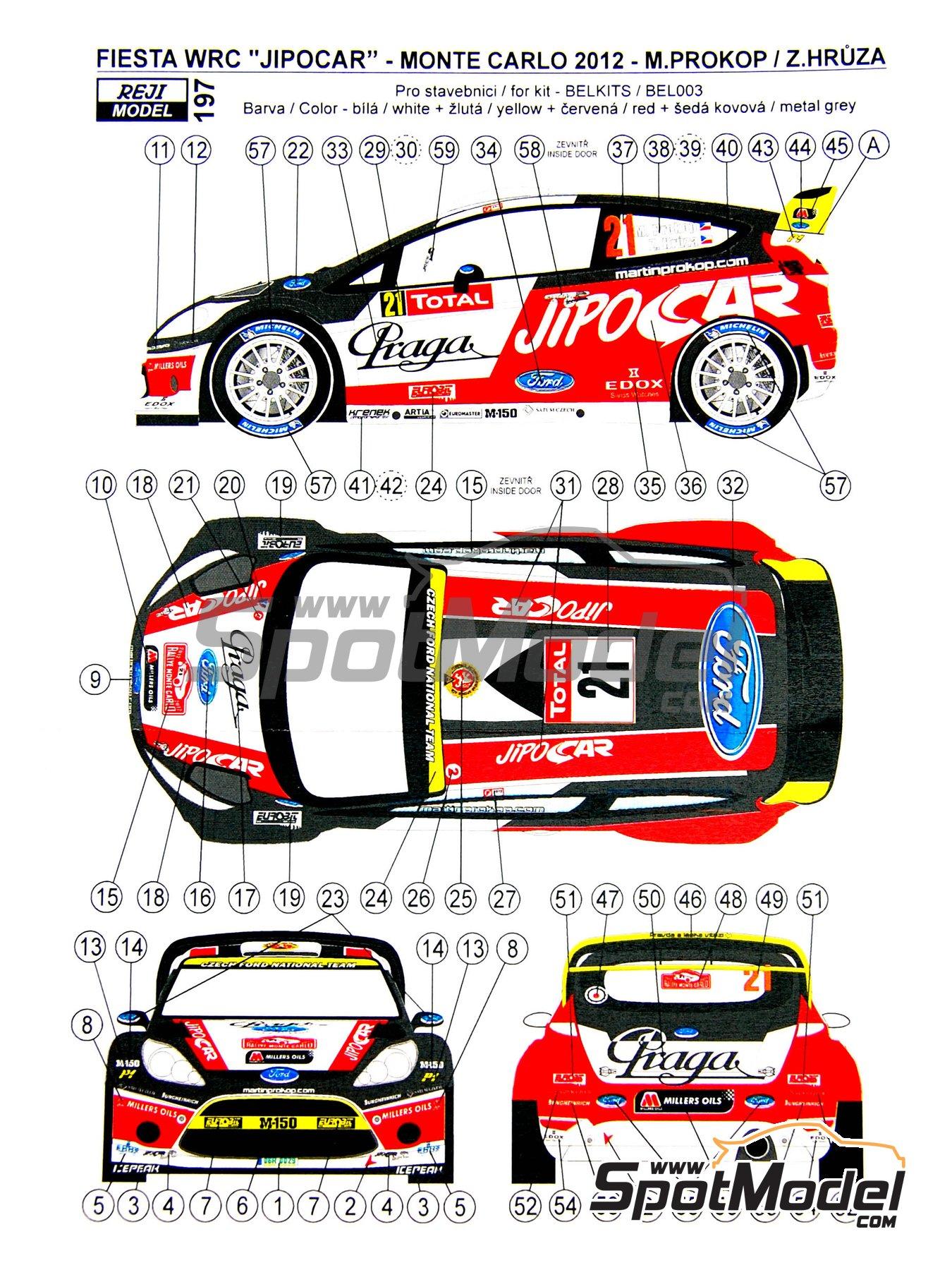Ford Fiesta WRC Jipo Car - Rally de Montecarlo 2012 | Decoración en escala1/24 fabricado por Reji Model (ref.REJI-197) image