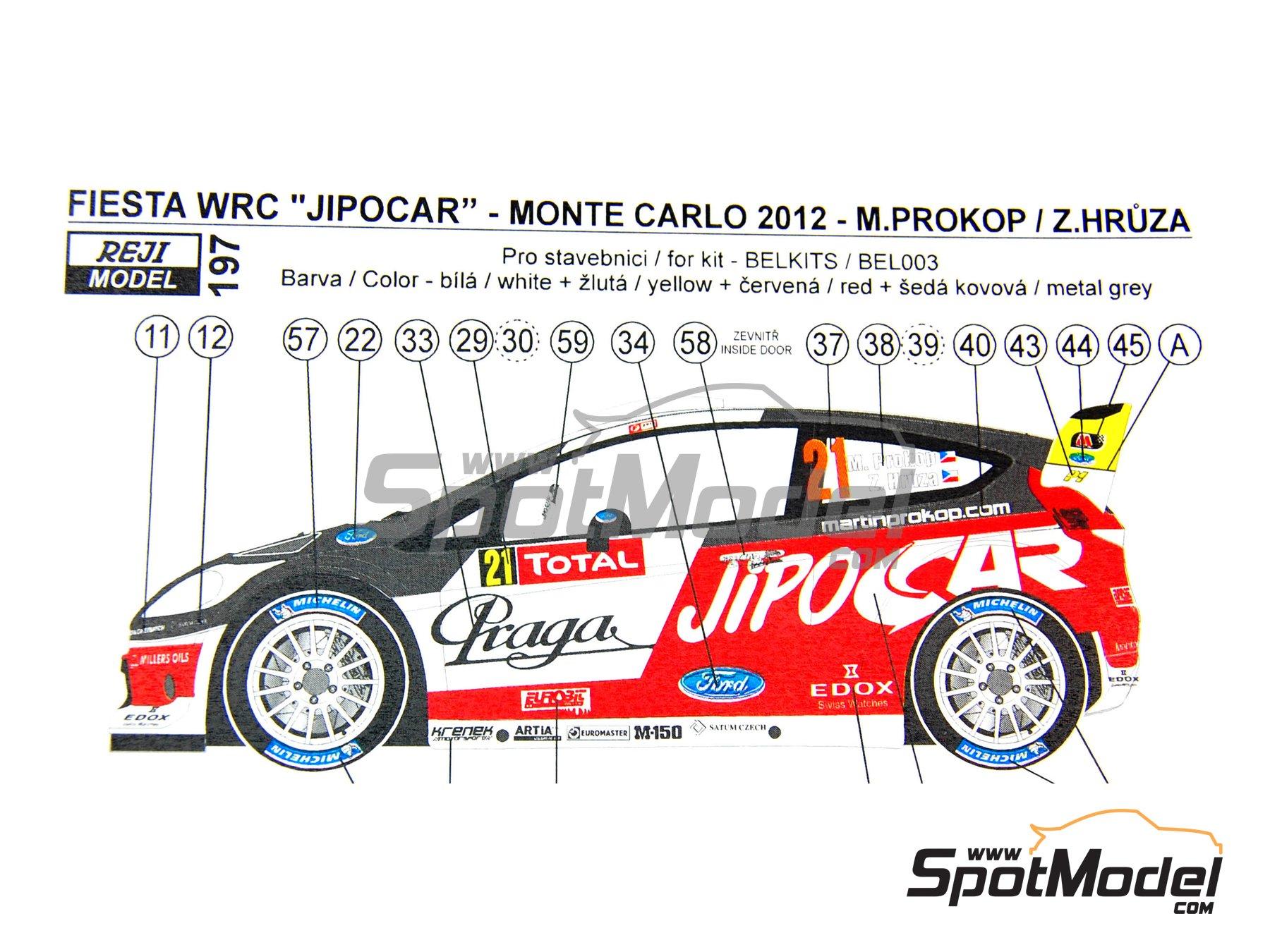Image 1: Ford Fiesta WRC Jipo Car - Rally de Montecarlo 2012 | Decoración en escala1/24 fabricado por Reji Model (ref.REJI-197)