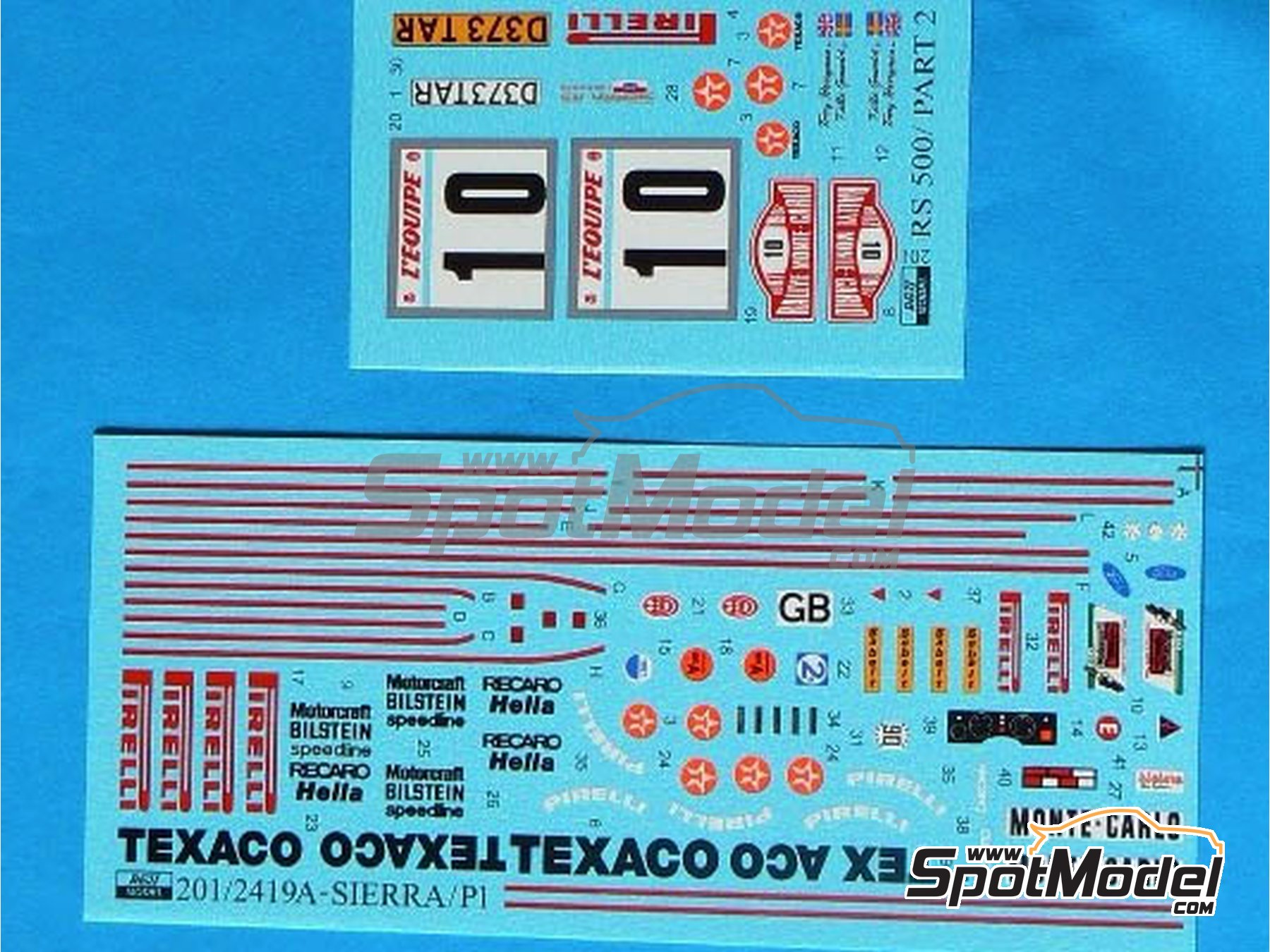 Image 1: Ford Sierra RS 500 Texaco - Rally de Montecarlo 1987 | Decoración en escala 1/24 fabricado por Reji Model (ref. REJI-201)