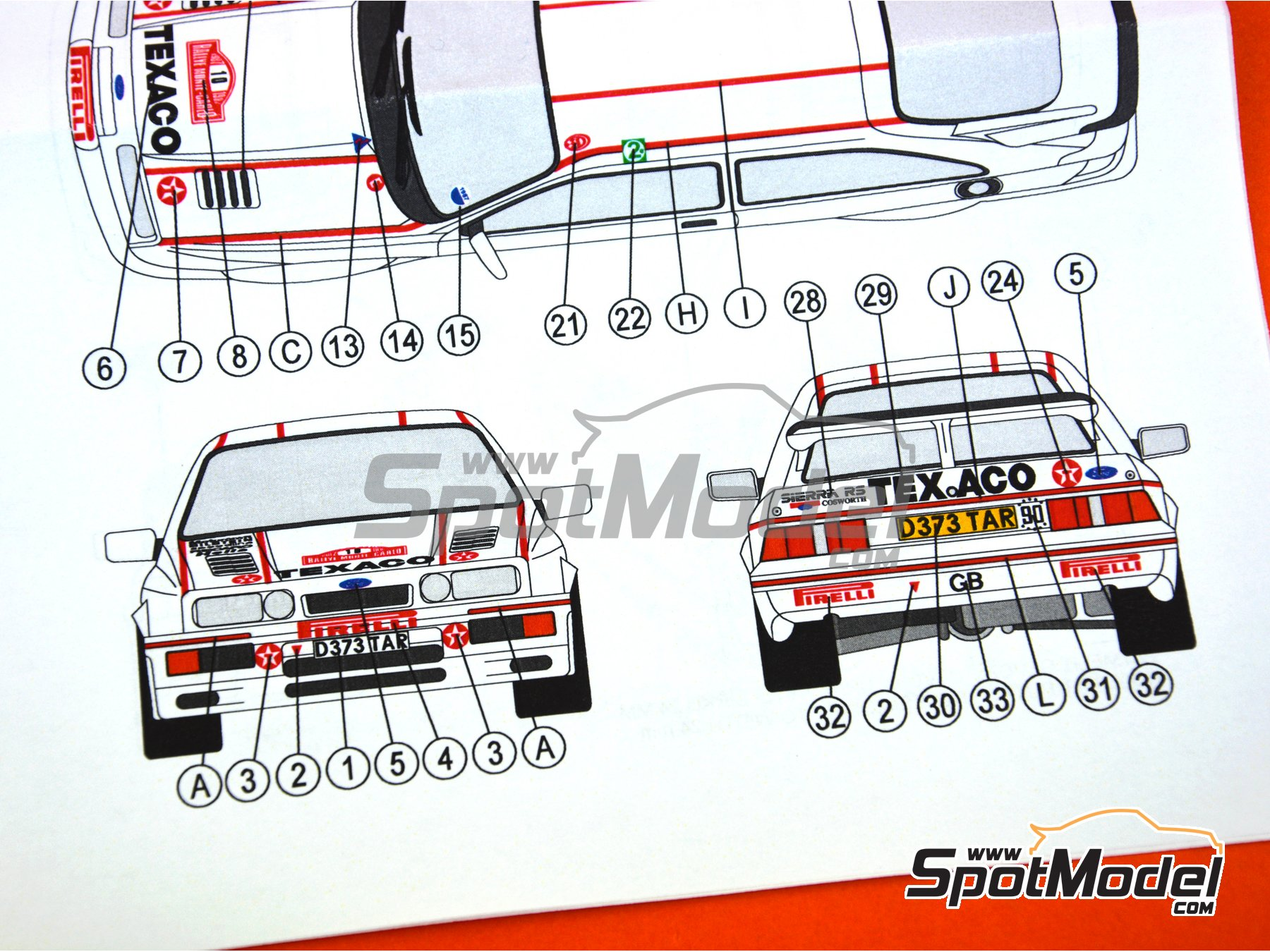 Image 11: Ford Sierra RS 500 Texaco - Rally de Montecarlo 1987 | Decoración en escala 1/24 fabricado por Reji Model (ref. REJI-201)