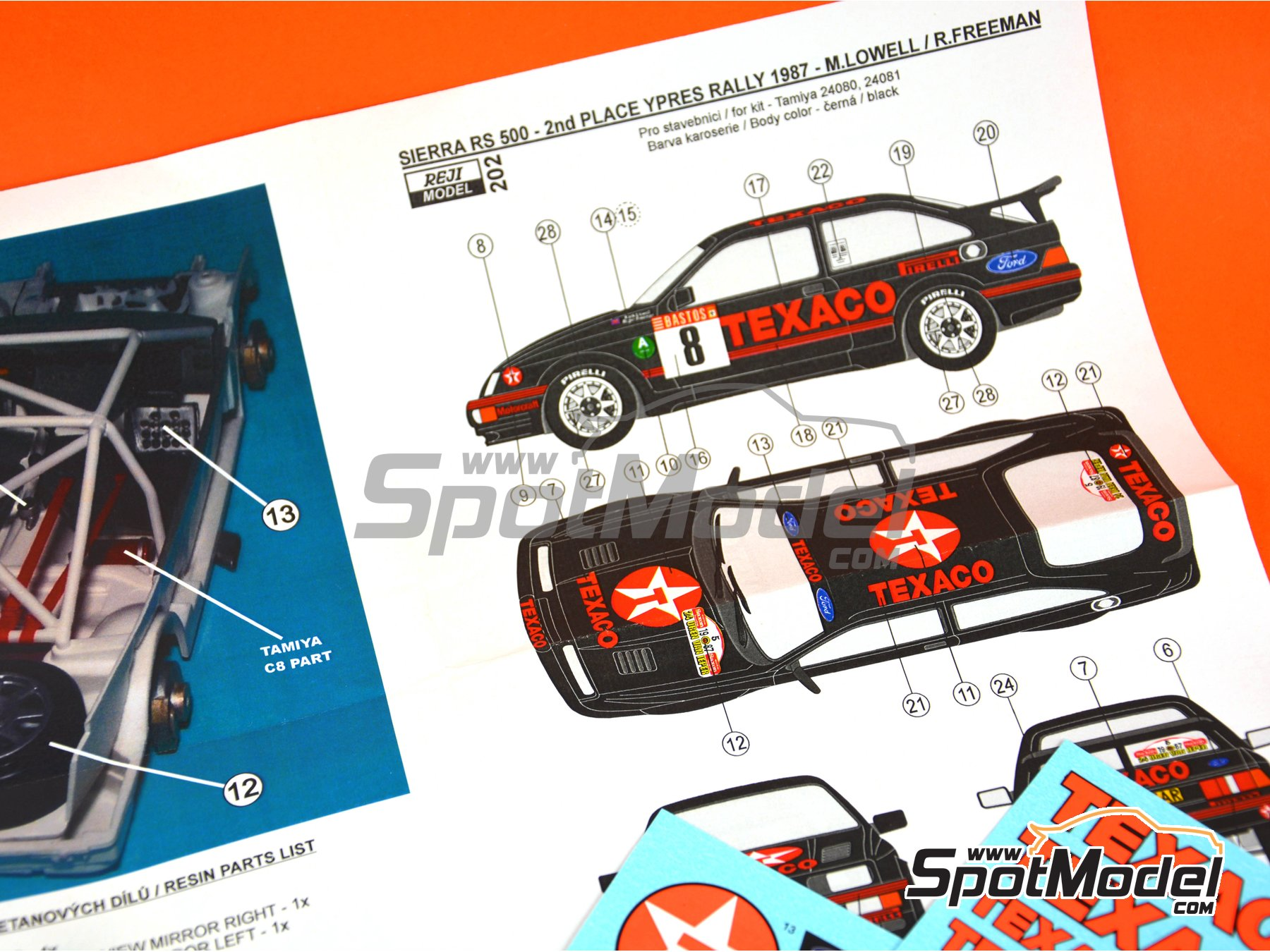 Image 2: Ford Sierra Cosworth RS 500 Ford Texaco Motorsport - Rally de Ypres de Belgica 1987 | Decoración en escala 1/24 fabricado por Reji Model (ref. REJI-202)