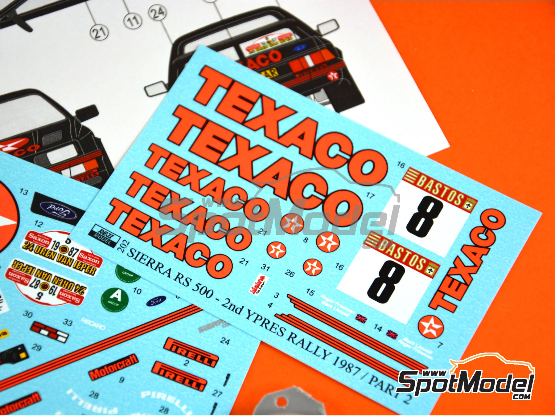 Image 6: Ford Sierra Cosworth RS 500 Ford Texaco Motorsport - Rally de Ypres de Belgica 1987 | Decoración en escala 1/24 fabricado por Reji Model (ref. REJI-202)