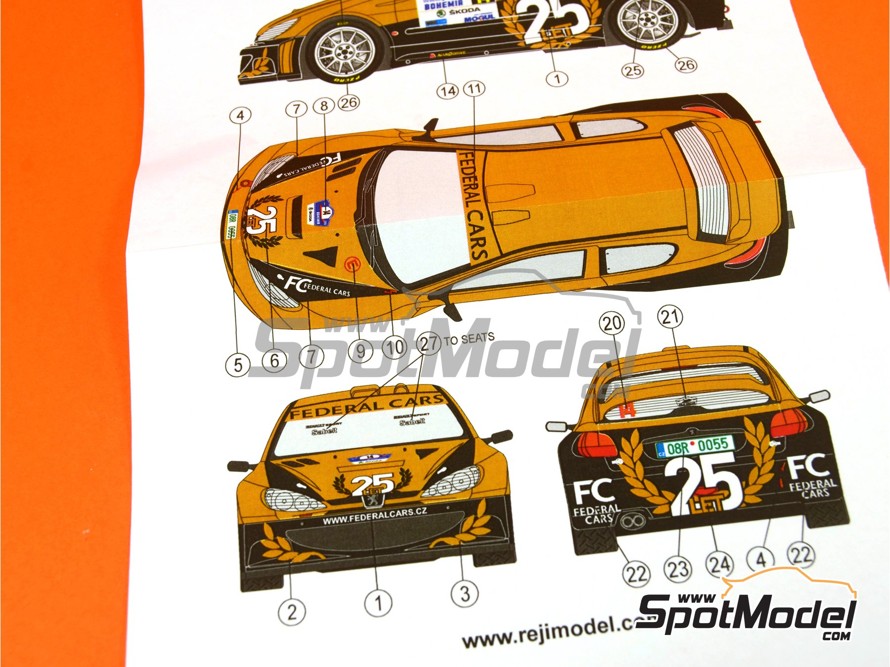 Image 2: Peugeot 206 WRC Federal Cars - Bohemia rally 2015 | Marking / livery in 1/24 scale manufactured by Reji Model (ref.REJI-206)