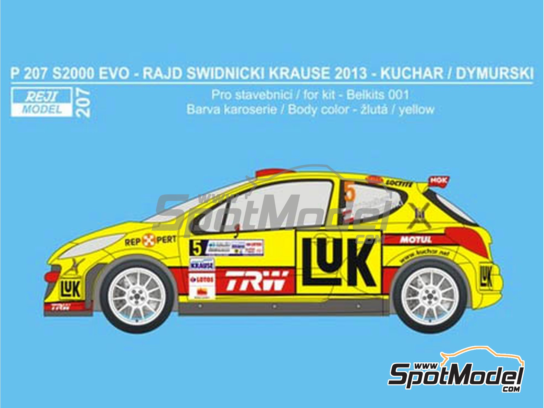 Image 1: Peugeot 207 S2000 Evo Luk - Swidnicki Krause Rally 2013 | Marking / livery in 1/24 scale manufactured by Reji Model (ref. REJI-207)