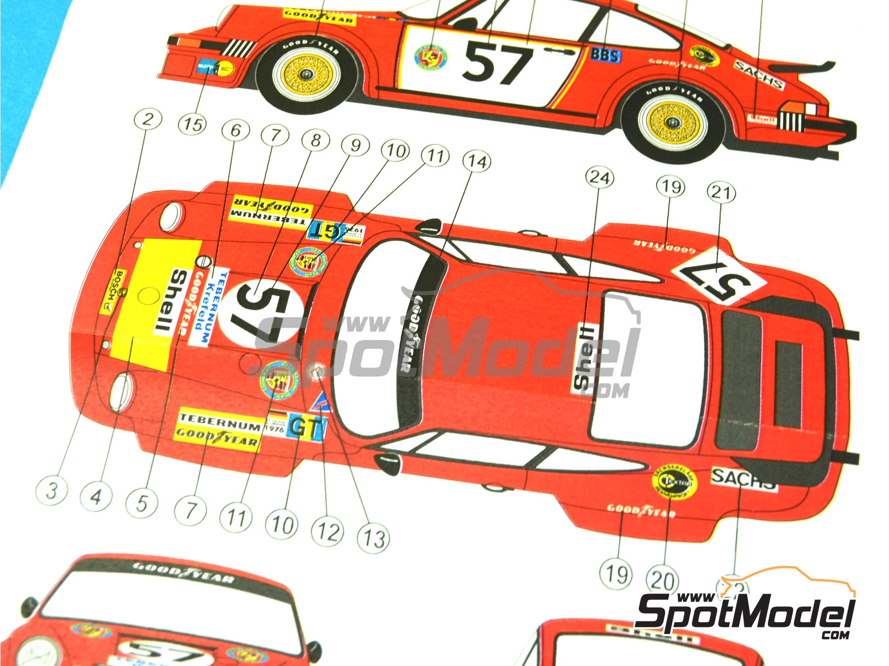 Image 2: Porsche 934 Turbo RSR Group 4 Gelo Racing Team - 24 Hours Le Mans 1976 | Marking / livery in 1/24 scale manufactured by Reji Model (ref. REJI-210)