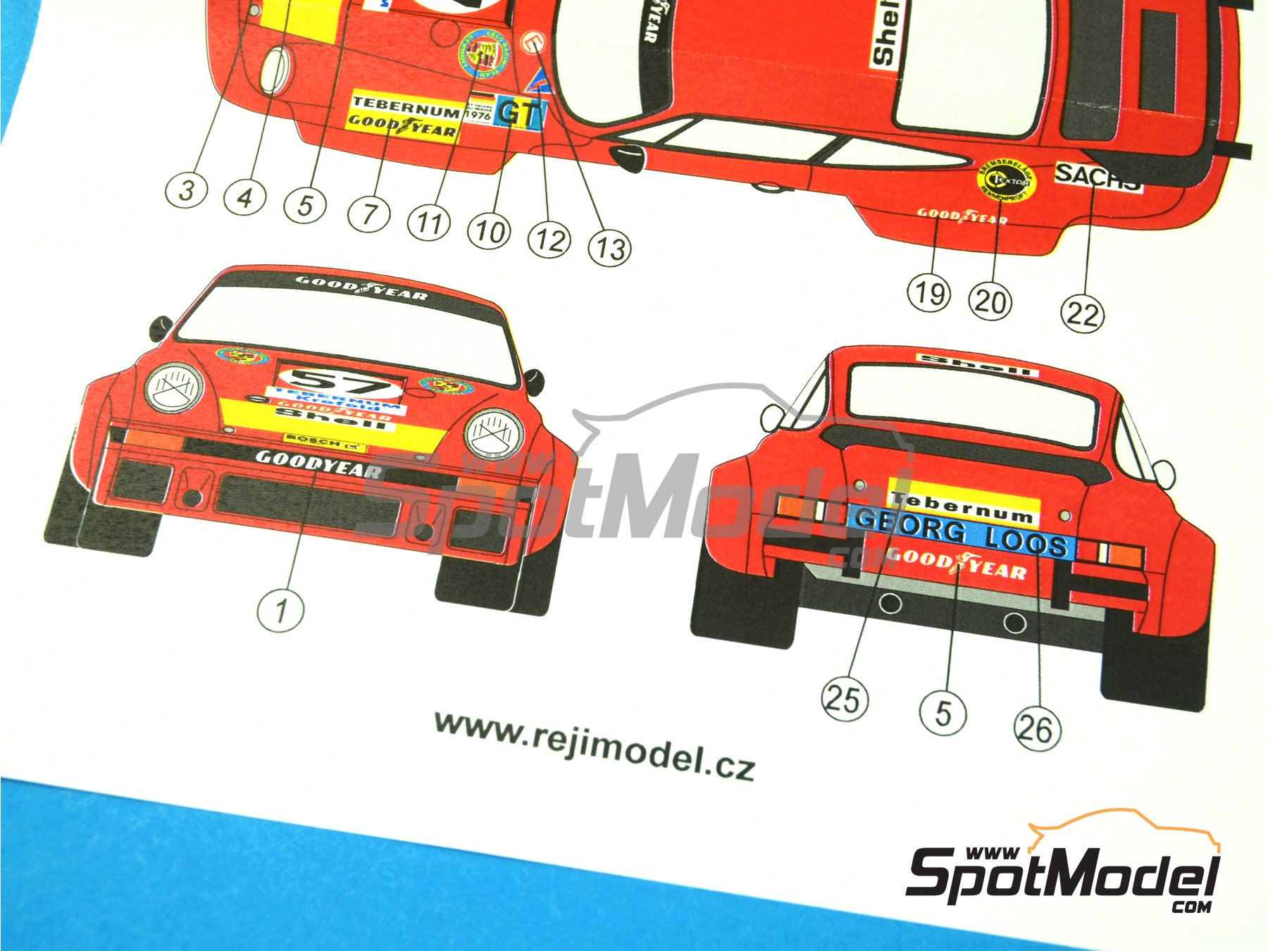 Image 3: Porsche 934 Turbo RSR Group 4 Gelo Racing Team - 24 Hours Le Mans 1976 | Marking / livery in 1/24 scale manufactured by Reji Model (ref. REJI-210)