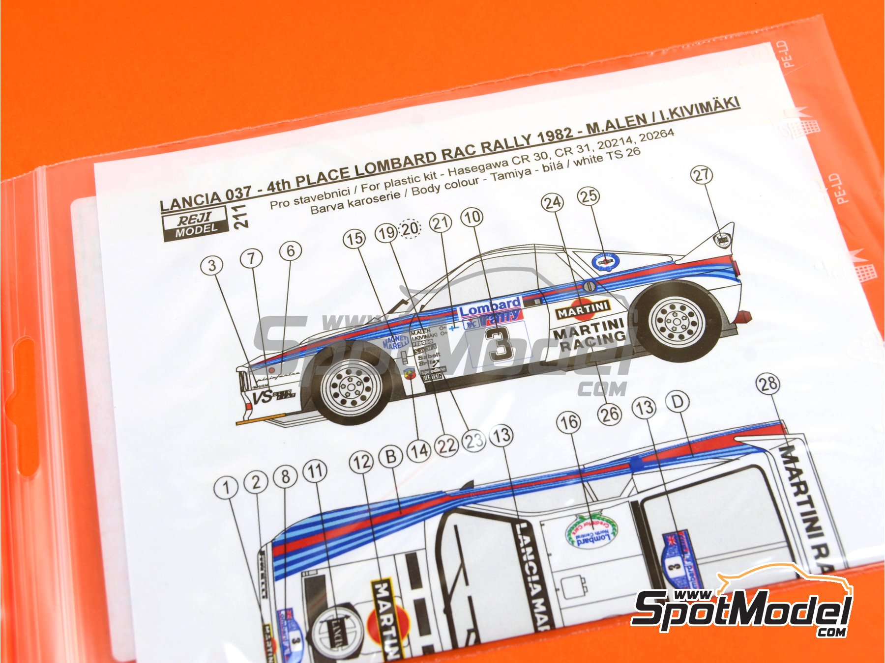 Image 1: Lancia 037 Rally Martini - Great Britain RAC Rally 1982 | Marking / livery in 1/24 scale manufactured by Reji Model (ref. REJI-211)