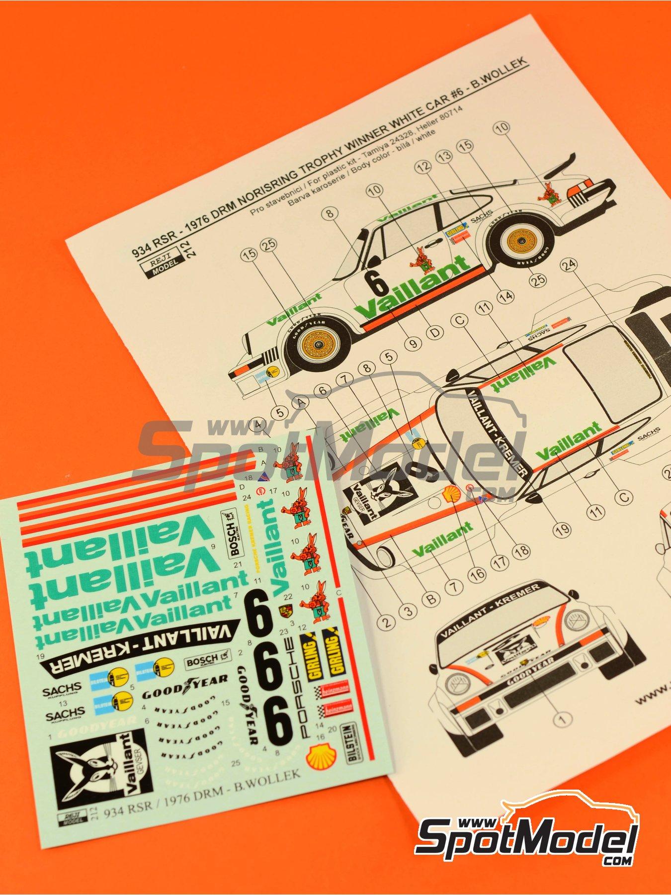 Porsche 934 Turbo RSR Grupo 4 Vaillant - ADAC Norisring Trophy 1976 | Decoración en escala1/24 fabricado por Reji Model (ref.REJI-212) image