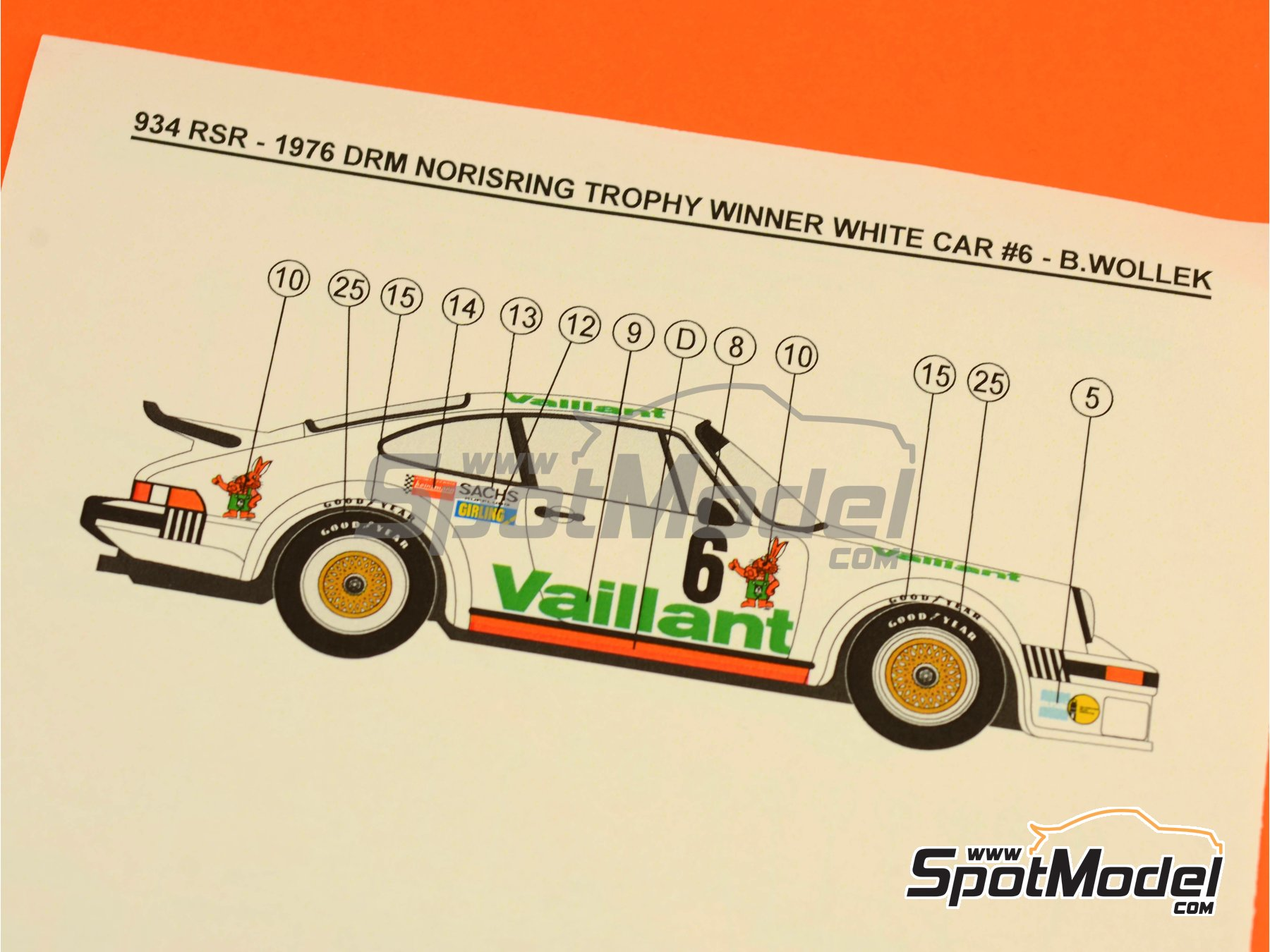 Image 5: Porsche 934 Turbo RSR Group 4 Vaillant - ADAC Norisring Trophy 1976 | Marking / livery in 1/24 scale manufactured by Reji Model (ref.REJI-212)