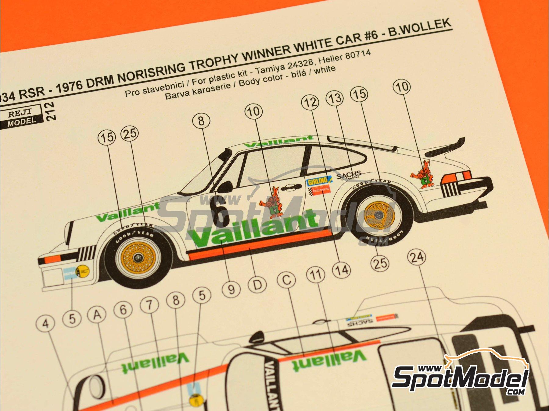 Image 6: Porsche 934 Turbo RSR Grupo 4 Vaillant - ADAC Norisring Trophy 1976 | Decoración en escala1/24 fabricado por Reji Model (ref.REJI-212)