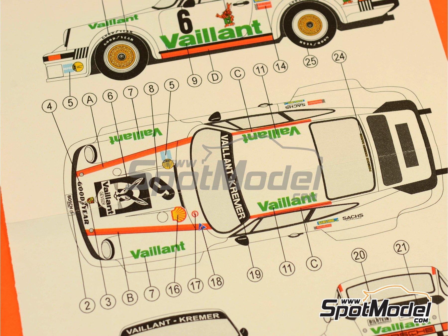 Image 7: Porsche 934 Turbo RSR Grupo 4 Vaillant - ADAC Norisring Trophy 1976 | Decoración en escala1/24 fabricado por Reji Model (ref.REJI-212)