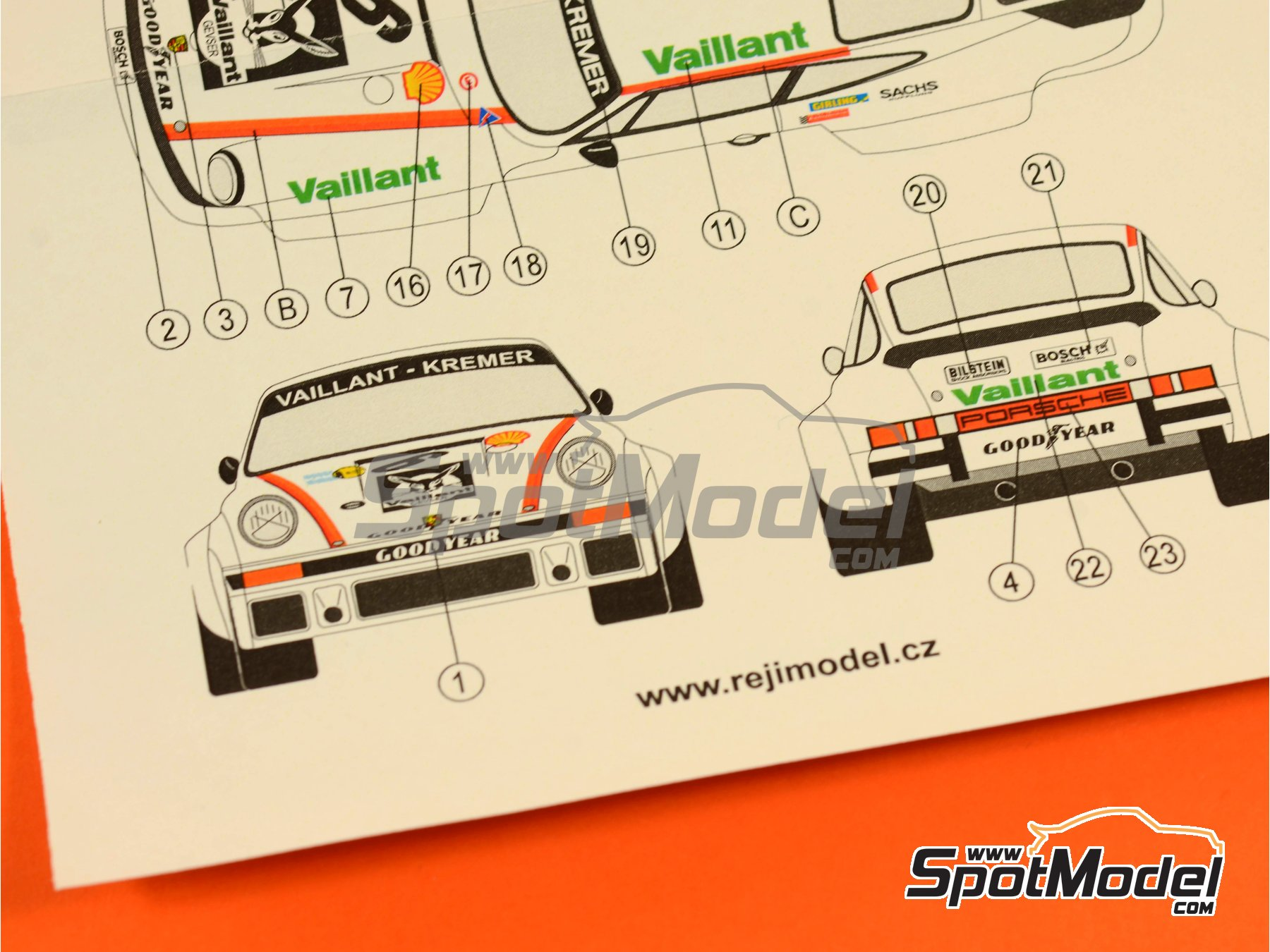 Image 8: Porsche 934 Turbo RSR Grupo 4 Vaillant - ADAC Norisring Trophy 1976 | Decoración en escala1/24 fabricado por Reji Model (ref.REJI-212)