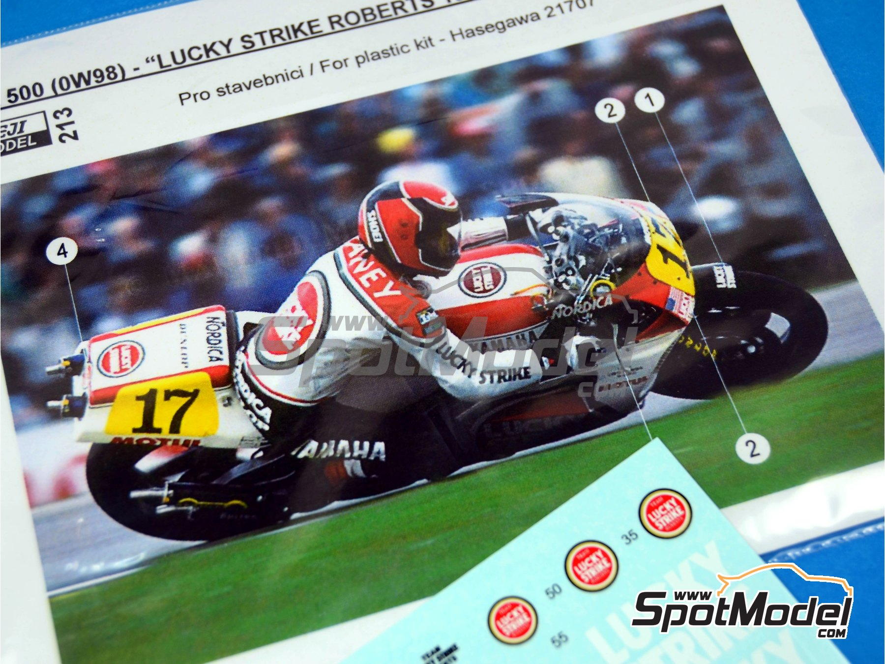 Image 2: Yamaha YZR500 Lucky Strike - Motorcycle World Championship 1988   Marking / livery in 1/12 scale manufactured by Reji Model (ref.REJI-213)