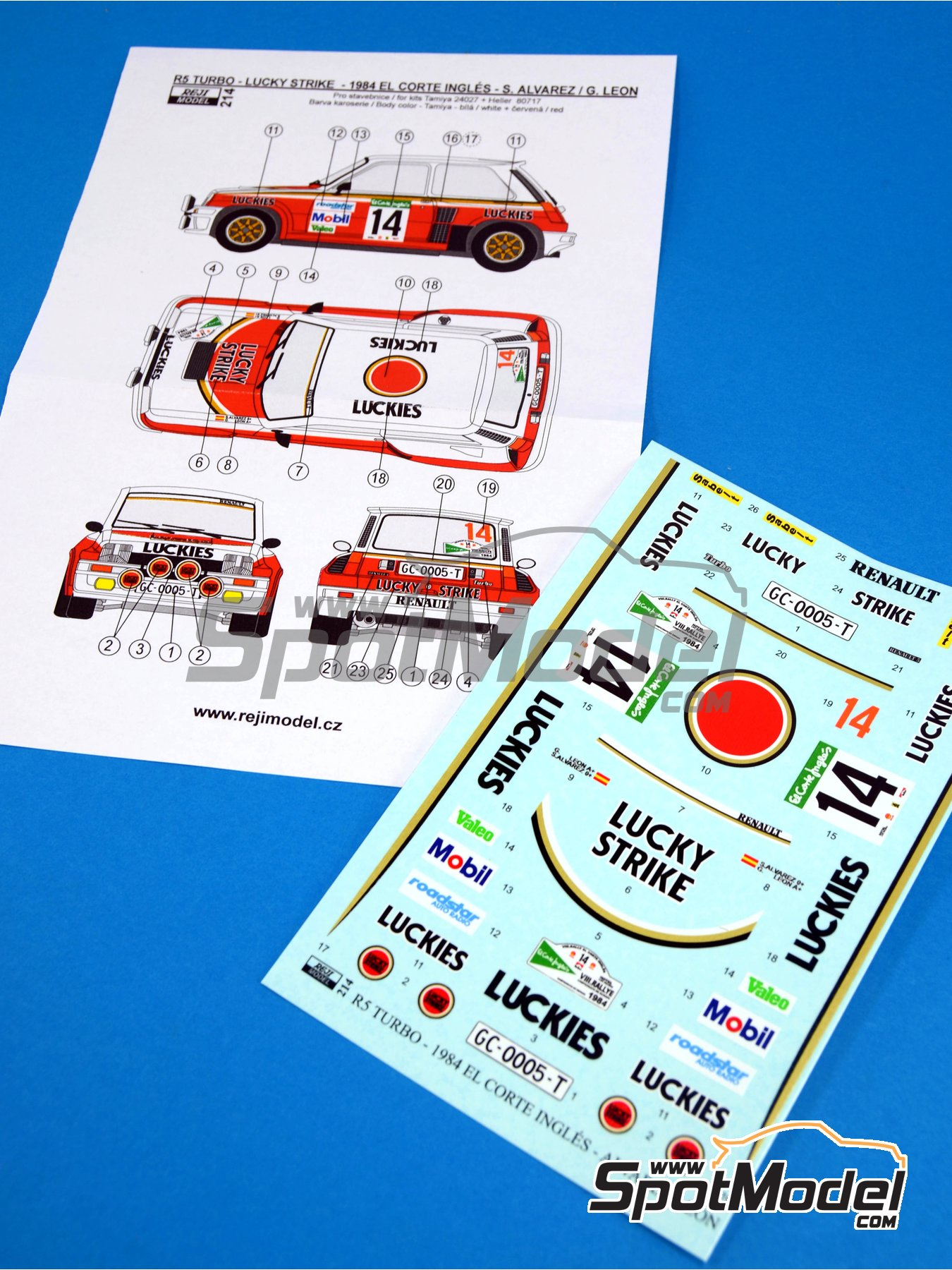 Renault R5 Turbo Lucky Strike - El Corte Ingles Rally 1984 | Marking / livery in 1/24 scale manufactured by Reji Model (ref.REJI-214) image