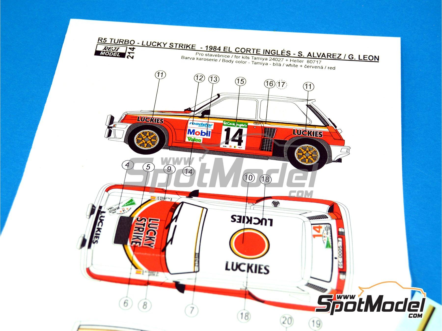 Image 1: Renault R5 Turbo Lucky Strike - Rally El Corte Ingles 1984 | Decoración en escala1/24 fabricado por Reji Model (ref.REJI-214)