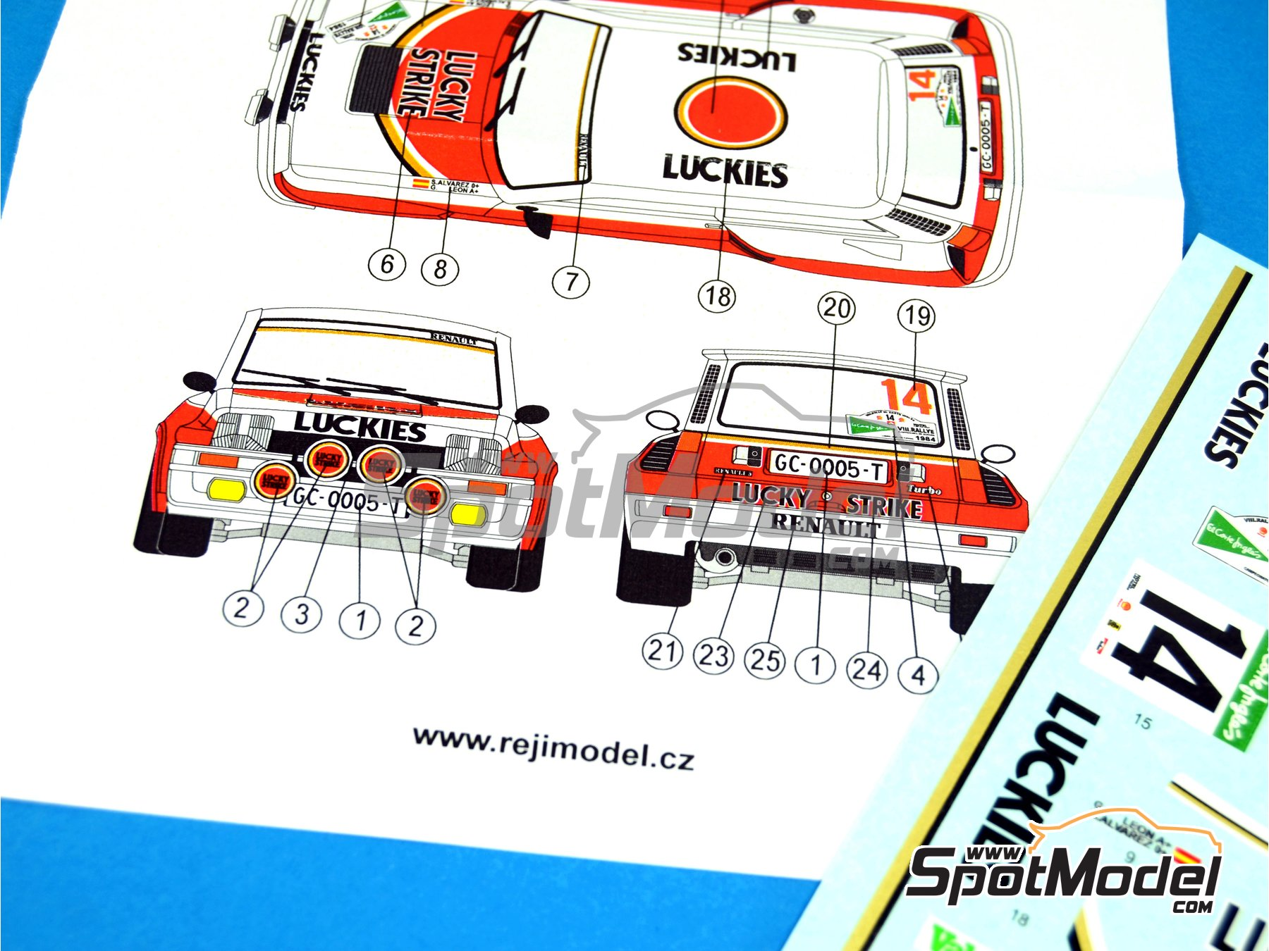 Image 2: Renault R5 Turbo Lucky Strike - El Corte Ingles Rally 1984 | Marking / livery in 1/24 scale manufactured by Reji Model (ref.REJI-214)