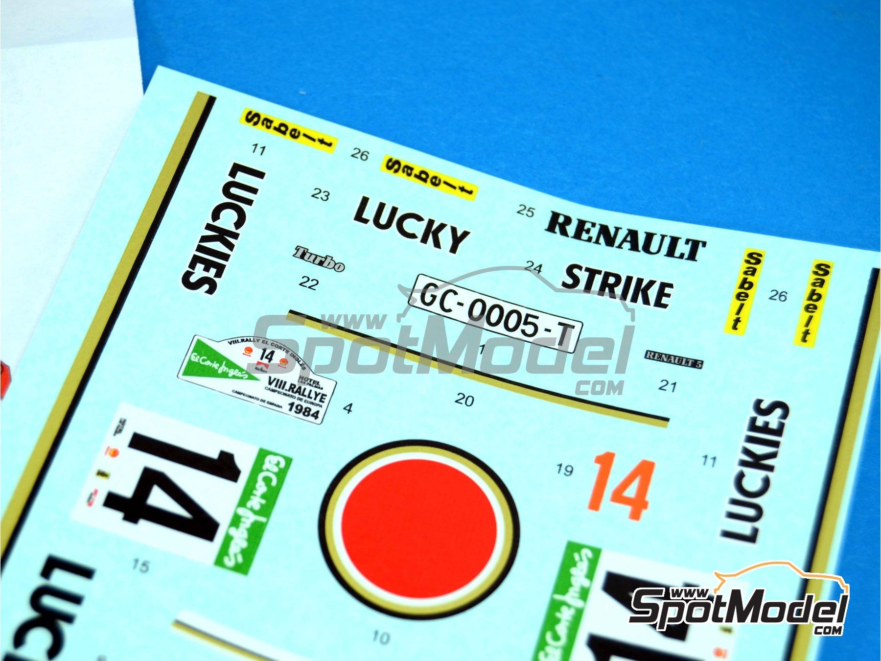 Image 3: Renault R5 Turbo Lucky Strike - Rally El Corte Ingles 1984 | Decoración en escala1/24 fabricado por Reji Model (ref.REJI-214)