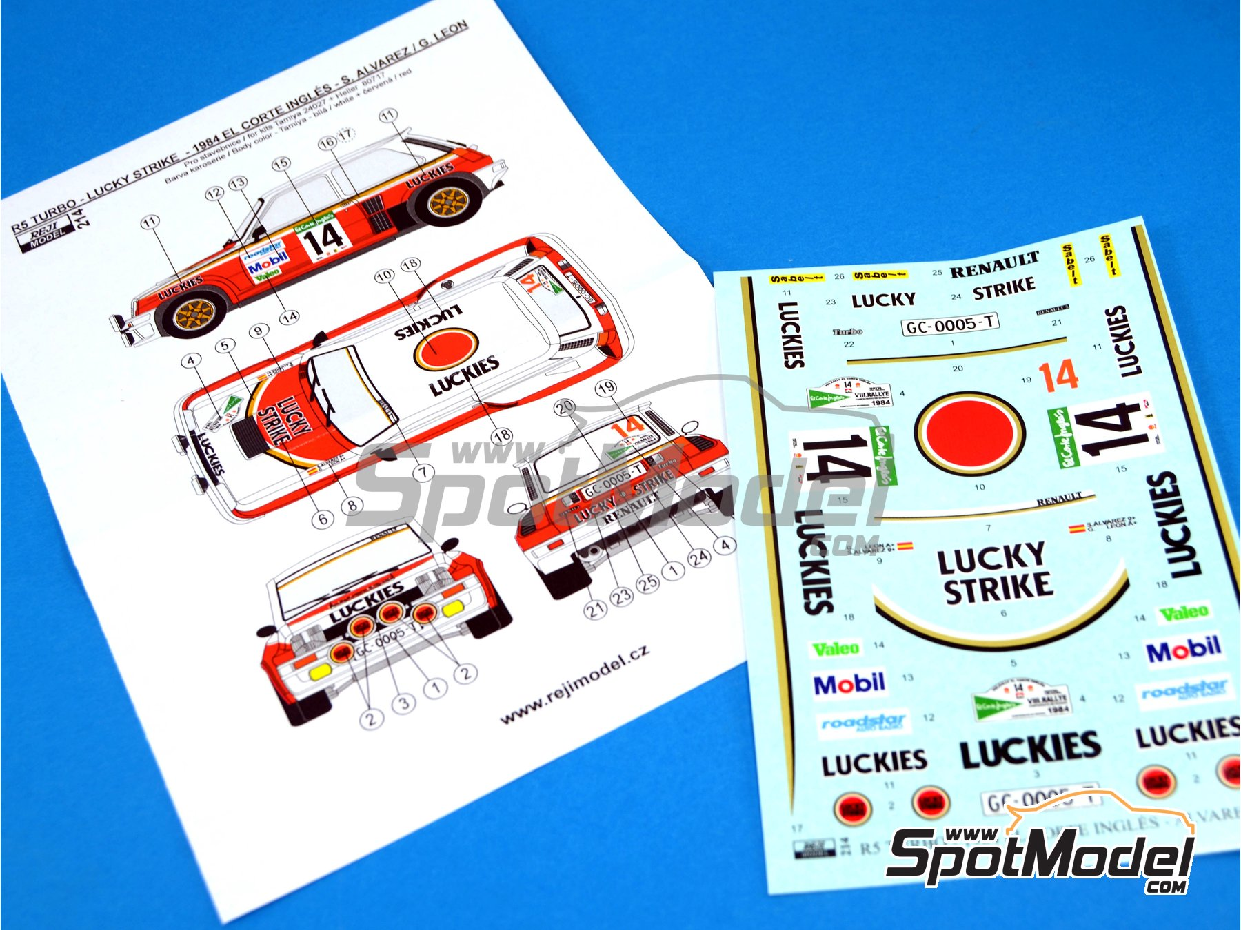 Image 6: Renault R5 Turbo Lucky Strike - El Corte Ingles Rally 1984 | Marking / livery in 1/24 scale manufactured by Reji Model (ref.REJI-214)