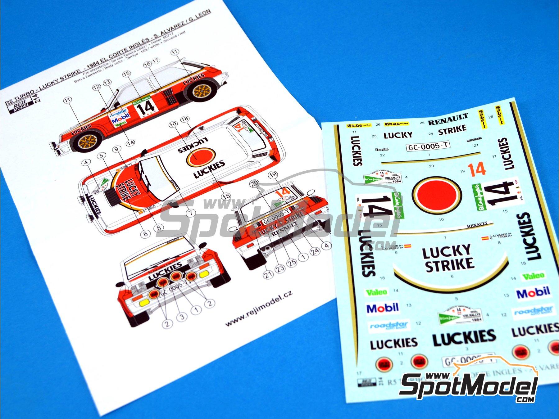 Image 6: Renault R5 Turbo Lucky Strike - Rally El Corte Ingles 1984 | Decoración en escala1/24 fabricado por Reji Model (ref.REJI-214)