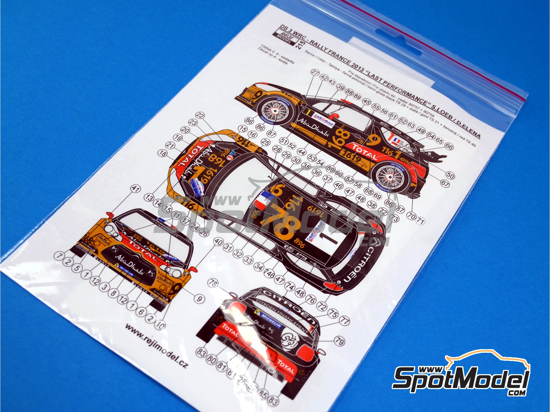 Image 1: Citroen DS3 WRC Total - Alsace France Rally 2013 | Decals in 1/24 scale manufactured by Reji Model (ref. REJI-215)