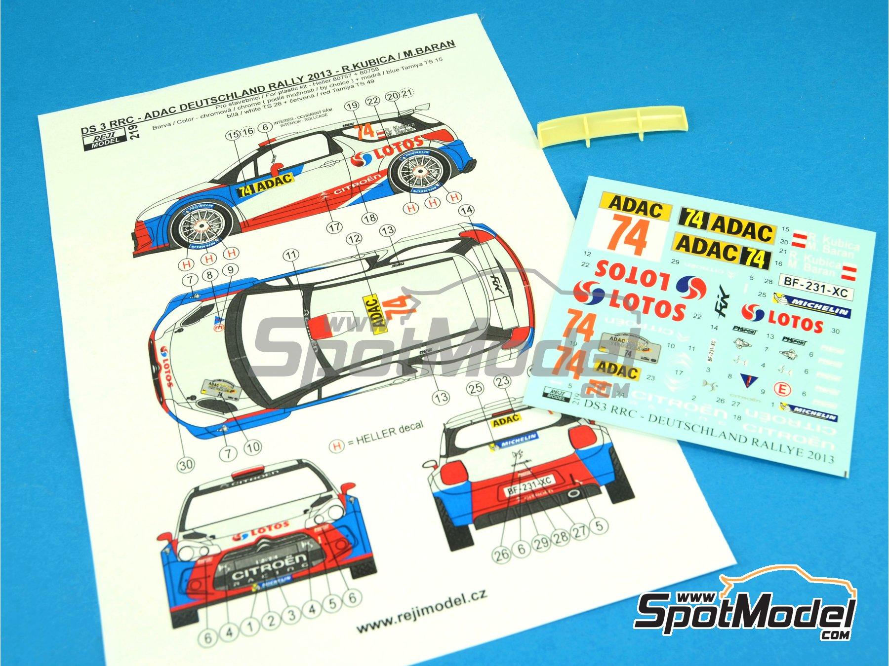 Image 1: Citroen DS3 WRC Lotos - Rally de Alemania ADAC 2013 | Decoración en escala1/24 fabricado por Reji Model (ref.REJI-219)