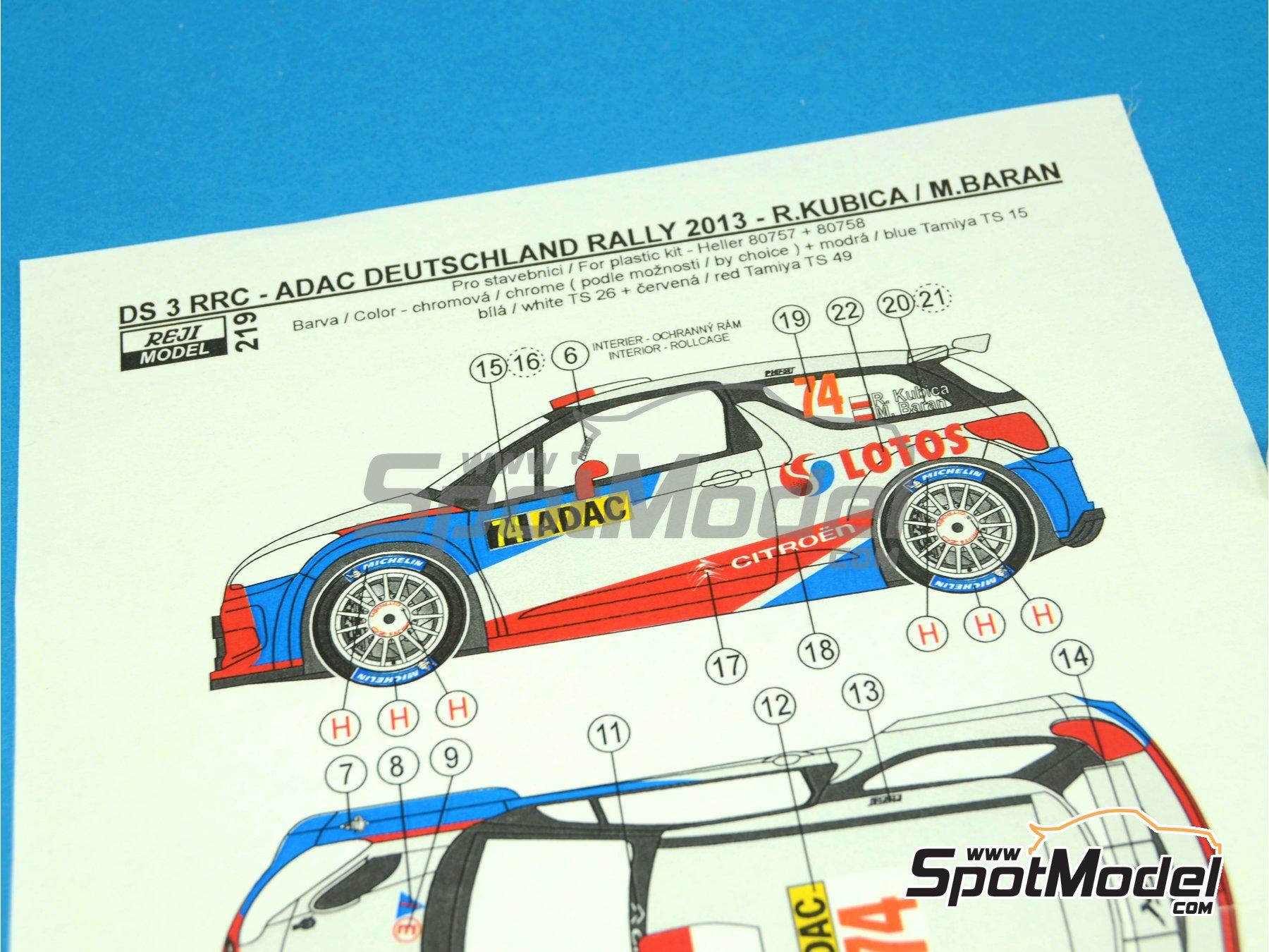 Image 2: Citroen DS3 WRC Lotos - Rally de Alemania ADAC 2013 | Decoración en escala1/24 fabricado por Reji Model (ref.REJI-219)