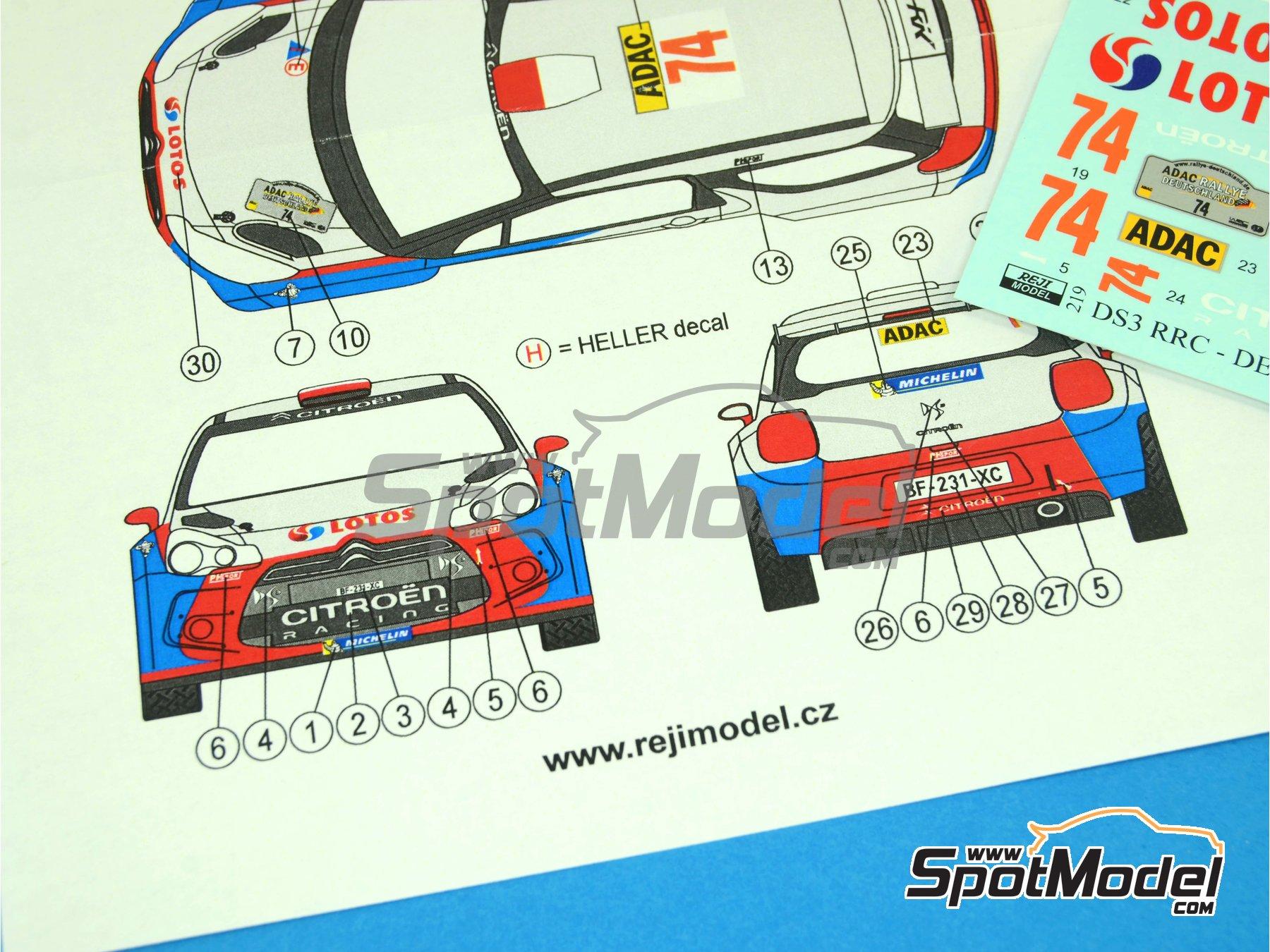 Image 4: Citroen DS3 WRC Lotos - Rally de Alemania ADAC 2013 | Decoración en escala1/24 fabricado por Reji Model (ref.REJI-219)