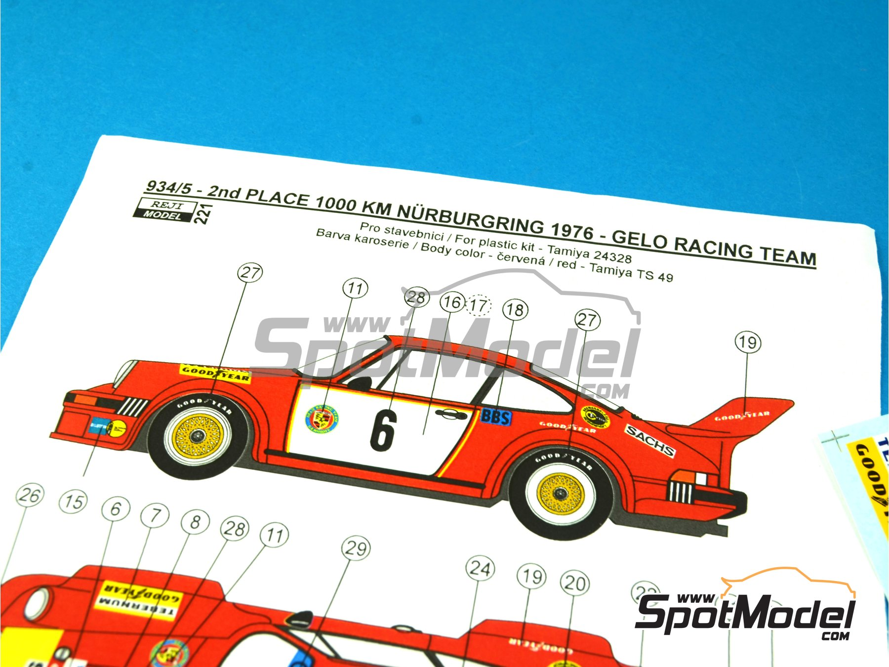 Image 2: Porsche 934/5 Gelo Racing Team - 1000 Kms Nürburgring 1976 | Marking / livery in 1/24 scale manufactured by Reji Model (ref. REJI-221)