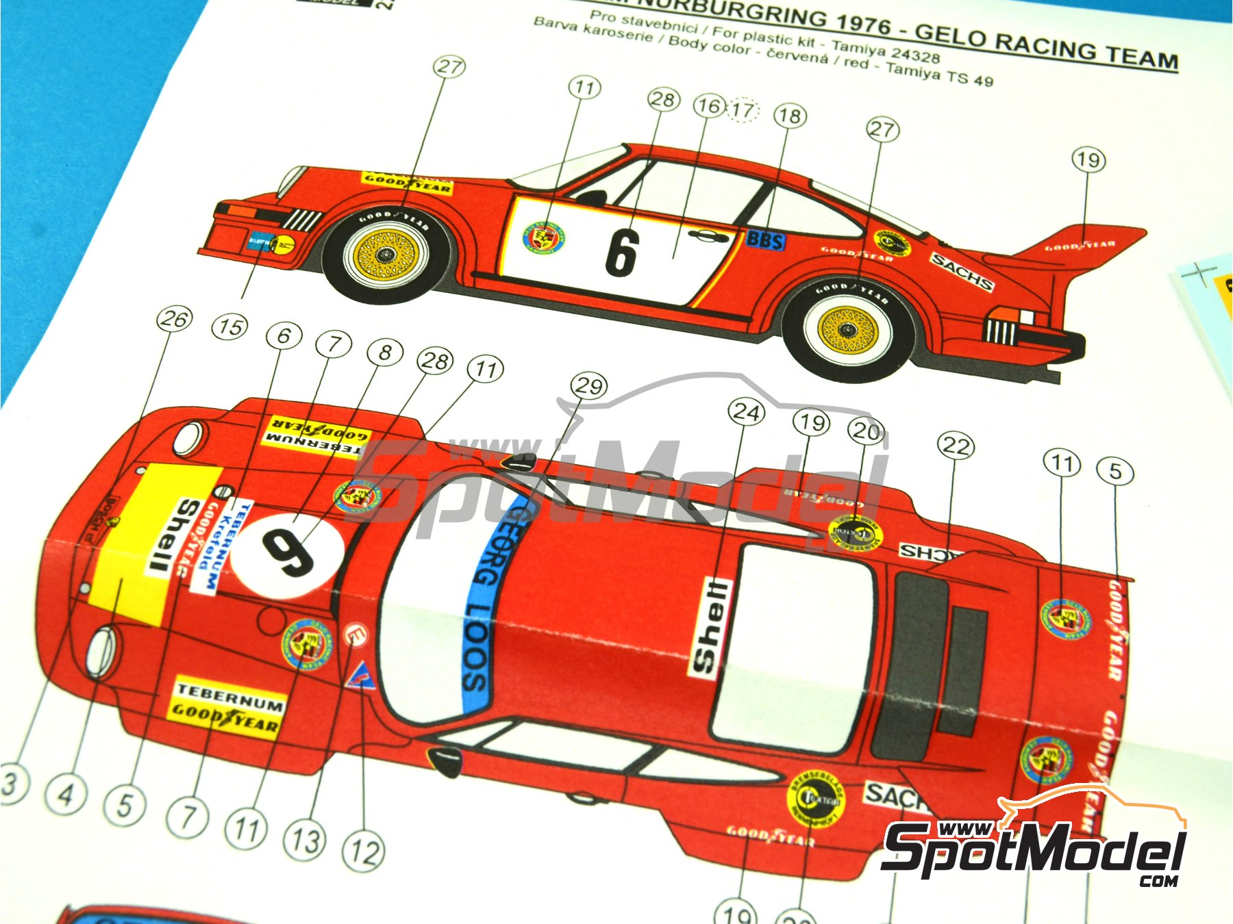 Image 3: Porsche 934/5 Gelo Racing Team - 1000 Kms Nürburgring 1976 | Marking / livery in 1/24 scale manufactured by Reji Model (ref. REJI-221)