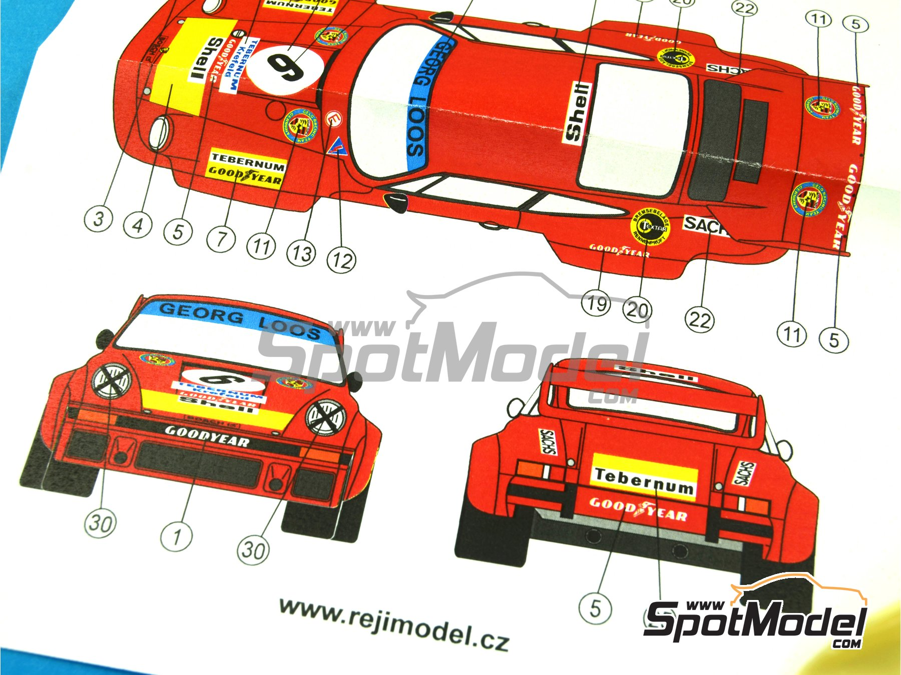 Image 4: Porsche 934/5 Gelo Racing Team - 1000 Kms Nürburgring 1976 | Marking / livery in 1/24 scale manufactured by Reji Model (ref. REJI-221)