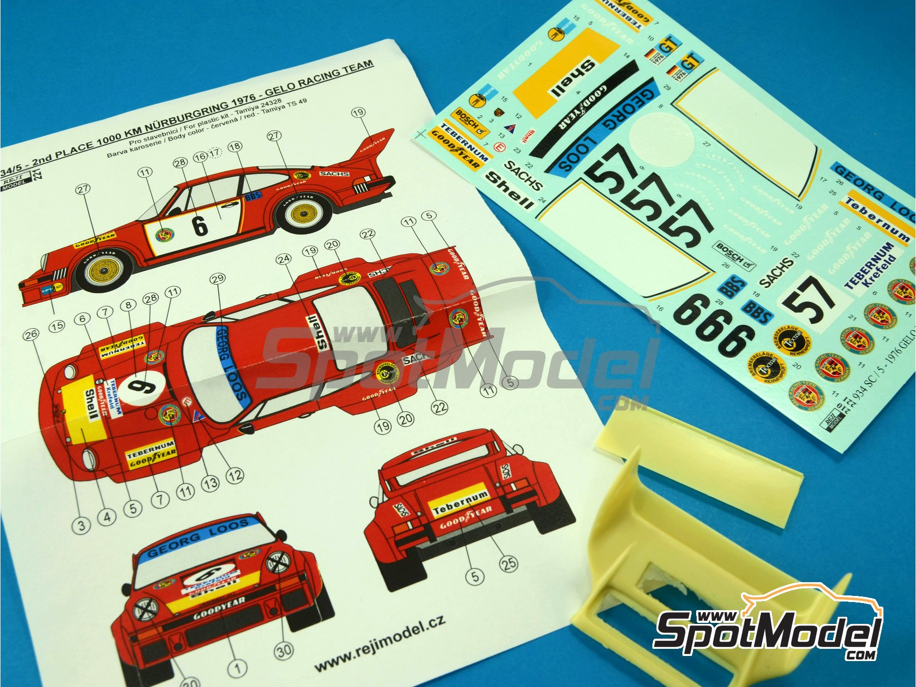 Image 8: Porsche 934/5 Gelo Racing Team - 1000 Kms Nürburgring 1976 | Marking / livery in 1/24 scale manufactured by Reji Model (ref. REJI-221)