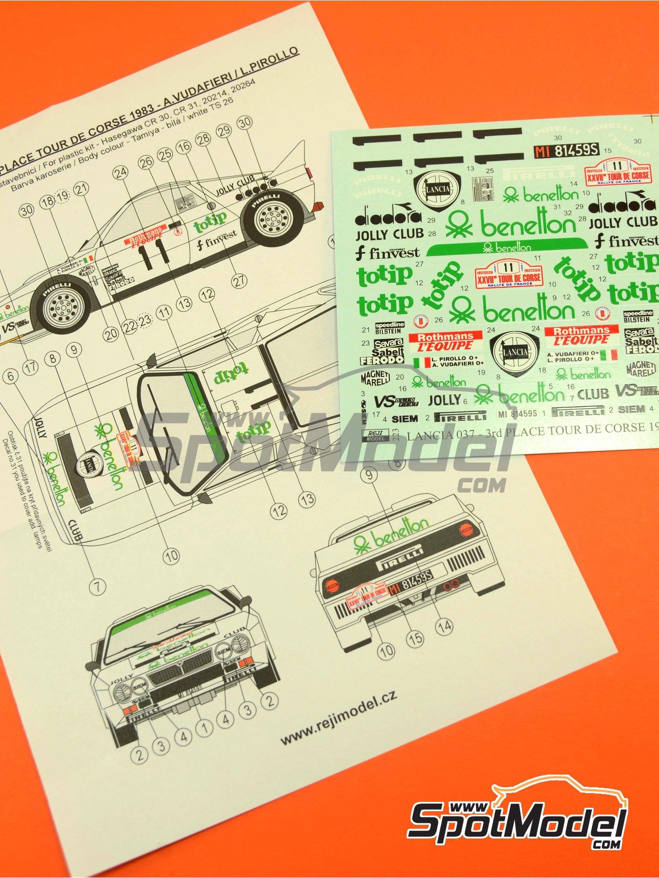 Lancia 037 Rally Totip Benetton - Rally Tour de Corse 1983 | Decoración en escala1/24 fabricado por Reji Model (ref.REJI-223) image