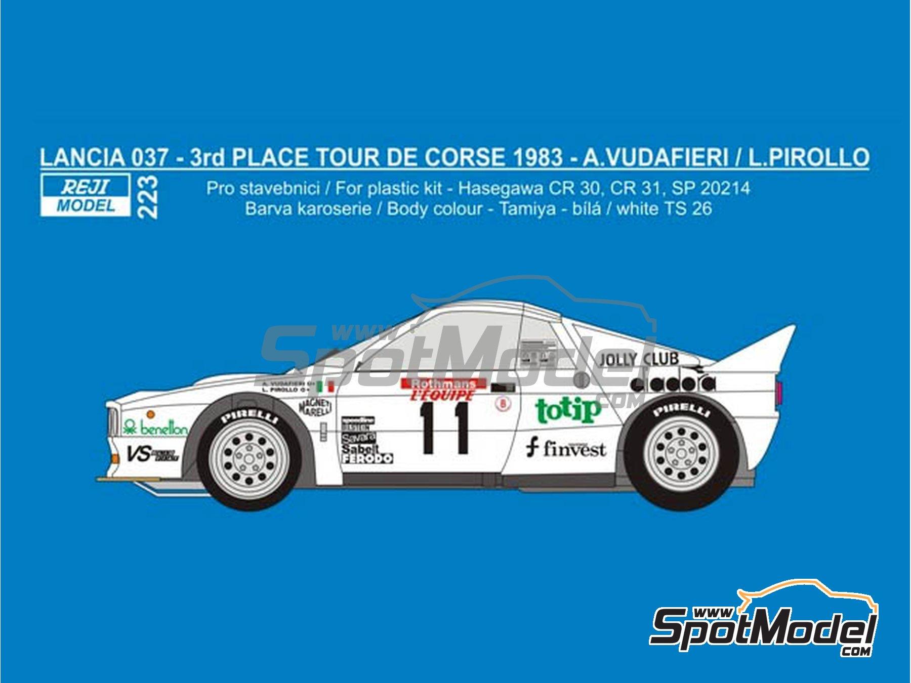 Image 1: Lancia 037 Rally Totip Benetton - Rally Tour de Corse 1983 | Decoración en escala1/24 fabricado por Reji Model (ref.REJI-223)