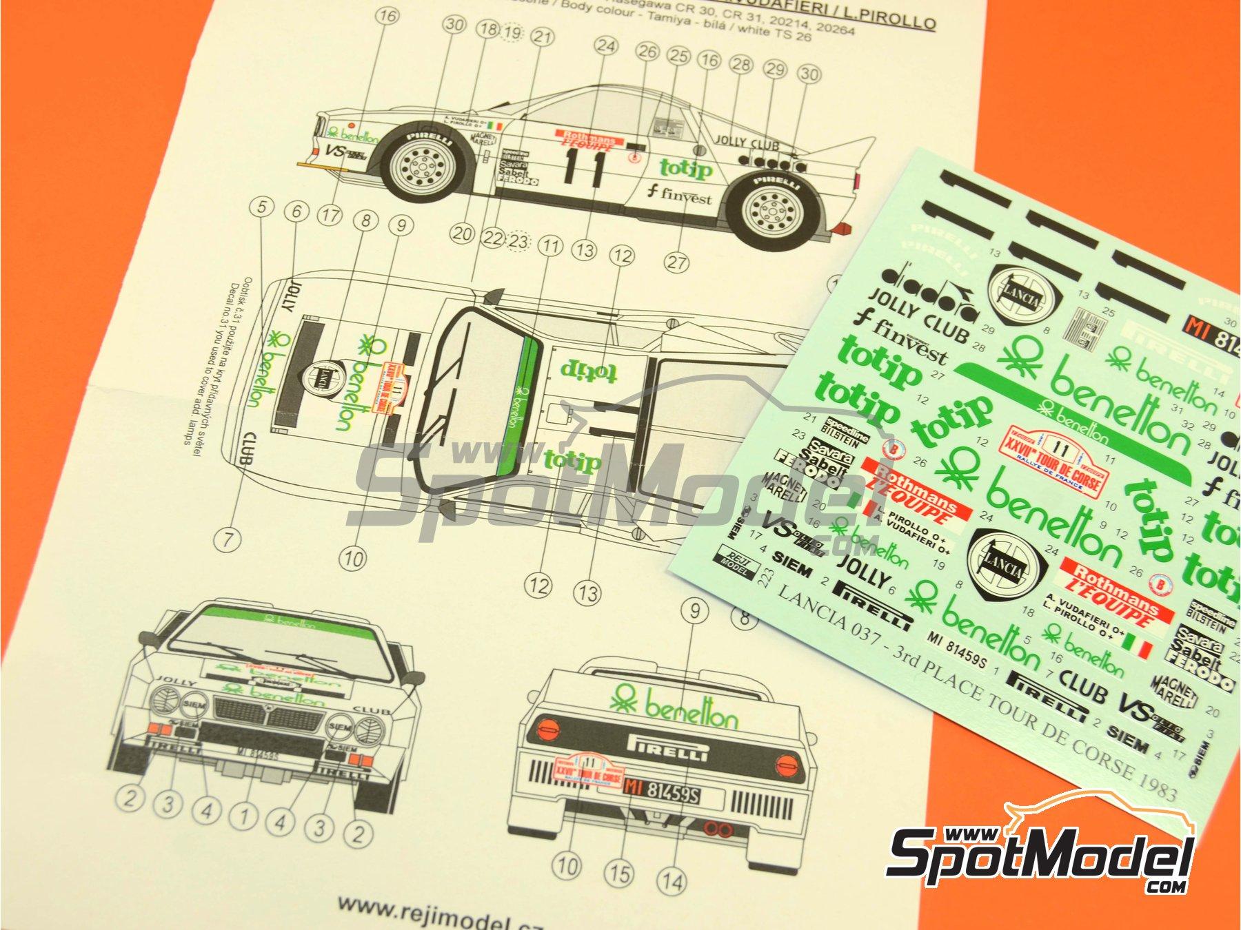 Image 2: Lancia 037 Rally Totip Benetton - Rally Tour de Corse 1983 | Decoración en escala1/24 fabricado por Reji Model (ref.REJI-223)
