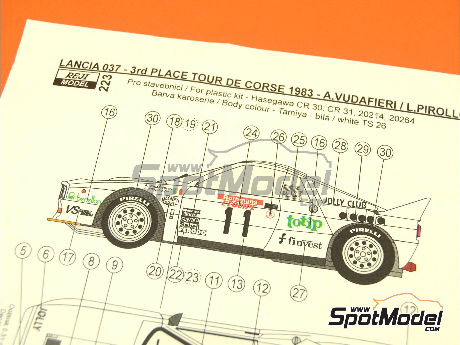 Image 5: Lancia 037 Rally Totip Benetton - Rally Tour de Corse 1983 | Decoración en escala1/24 fabricado por Reji Model (ref.REJI-223)