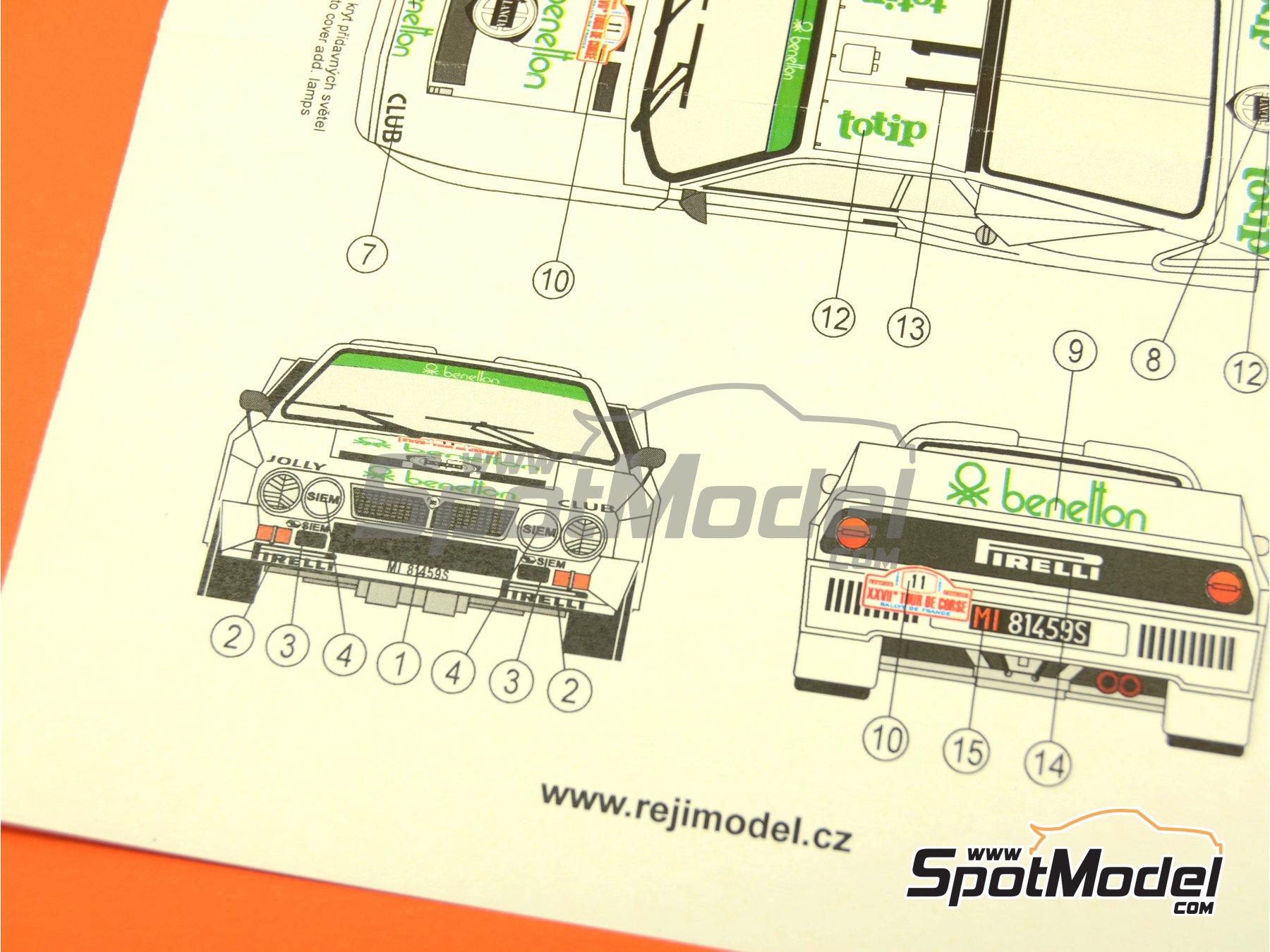 Image 6: Lancia 037 Rally Totip Benetton - Rally Tour de Corse 1983 | Decoración en escala1/24 fabricado por Reji Model (ref.REJI-223)