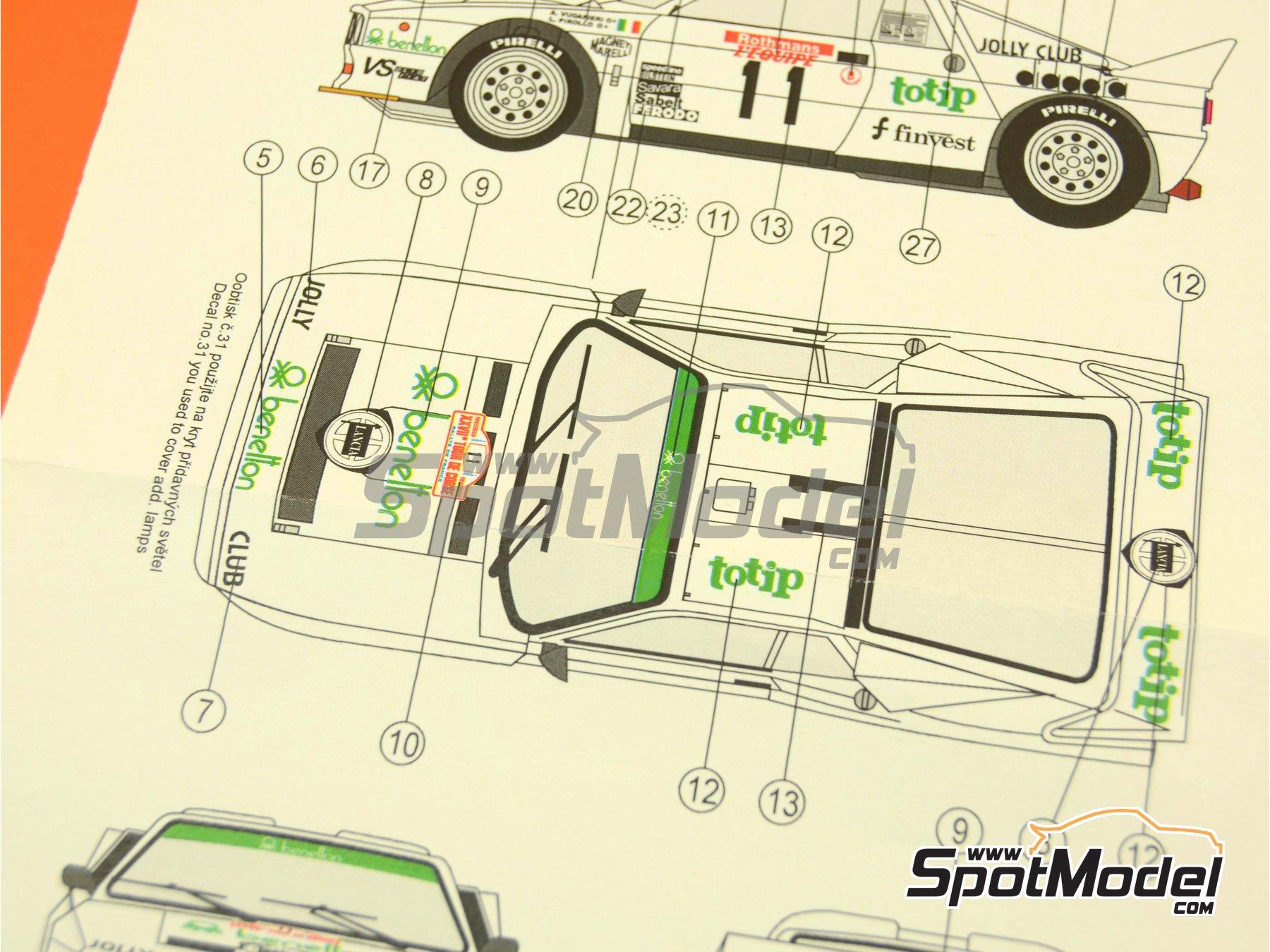 Image 7: Lancia 037 Rally Totip Benetton - Rally Tour de Corse 1983 | Decoración en escala1/24 fabricado por Reji Model (ref.REJI-223)