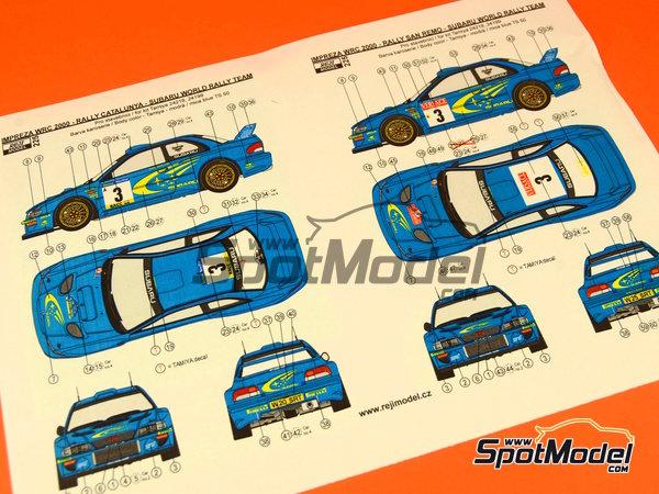 Image 1: Subaru Impreza WRC - Rally de Cataluña Costa Dorada RACC, Rally de San Remo 2000 | Decoración en escala1/24 fabricado por Reji Model (ref.REJI-225)