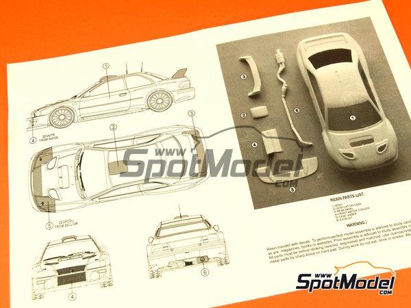 Image 2: Subaru Impreza WRC - Rally de Cataluña Costa Dorada RACC, Rally de San Remo 2000 | Decoración en escala1/24 fabricado por Reji Model (ref.REJI-225)