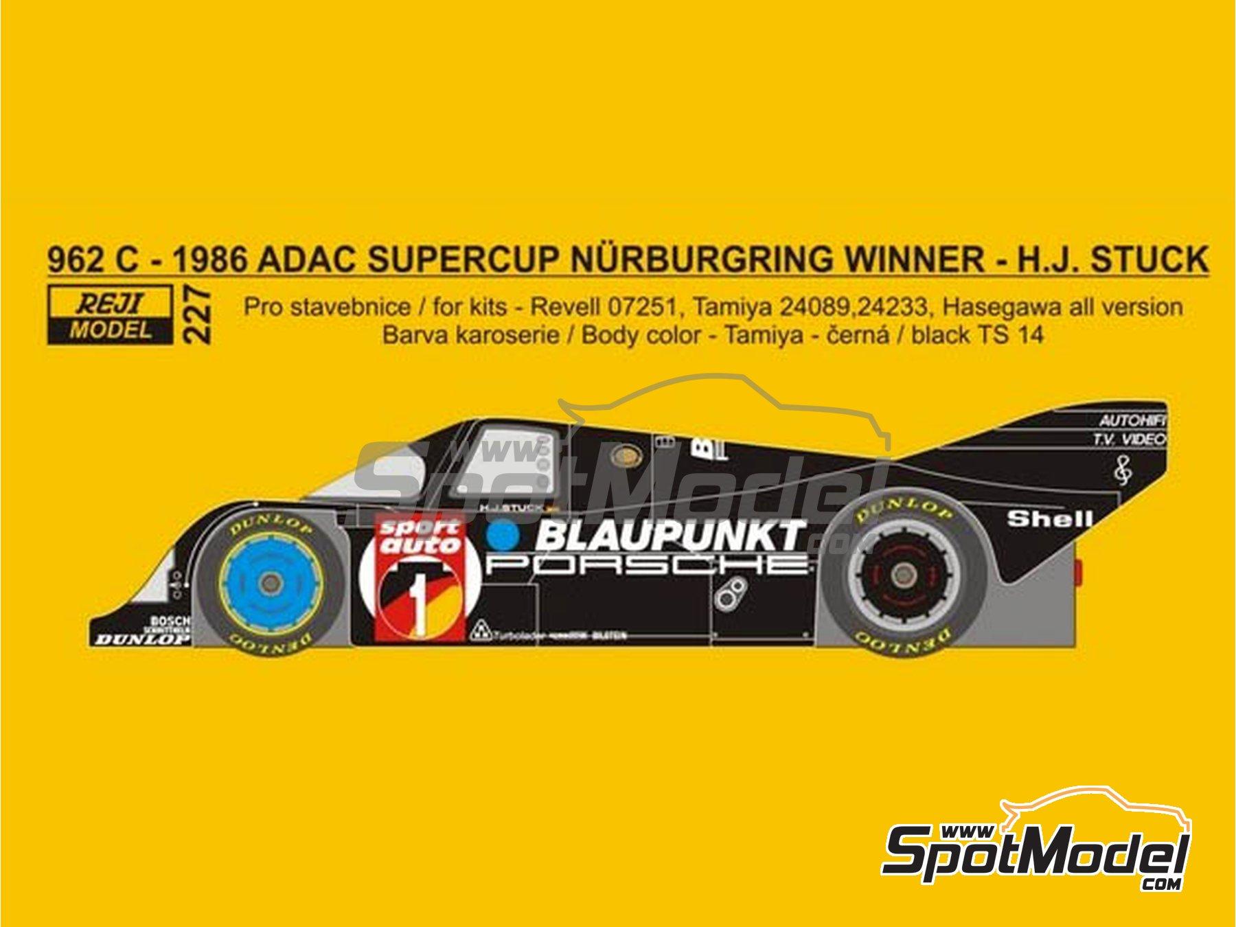 Image 1: Porsche 962C Blaupunkt - ADAC Supercup Nürburing 1986 | Decoración en escala1/24 fabricado por Reji Model (ref.REJI-227)