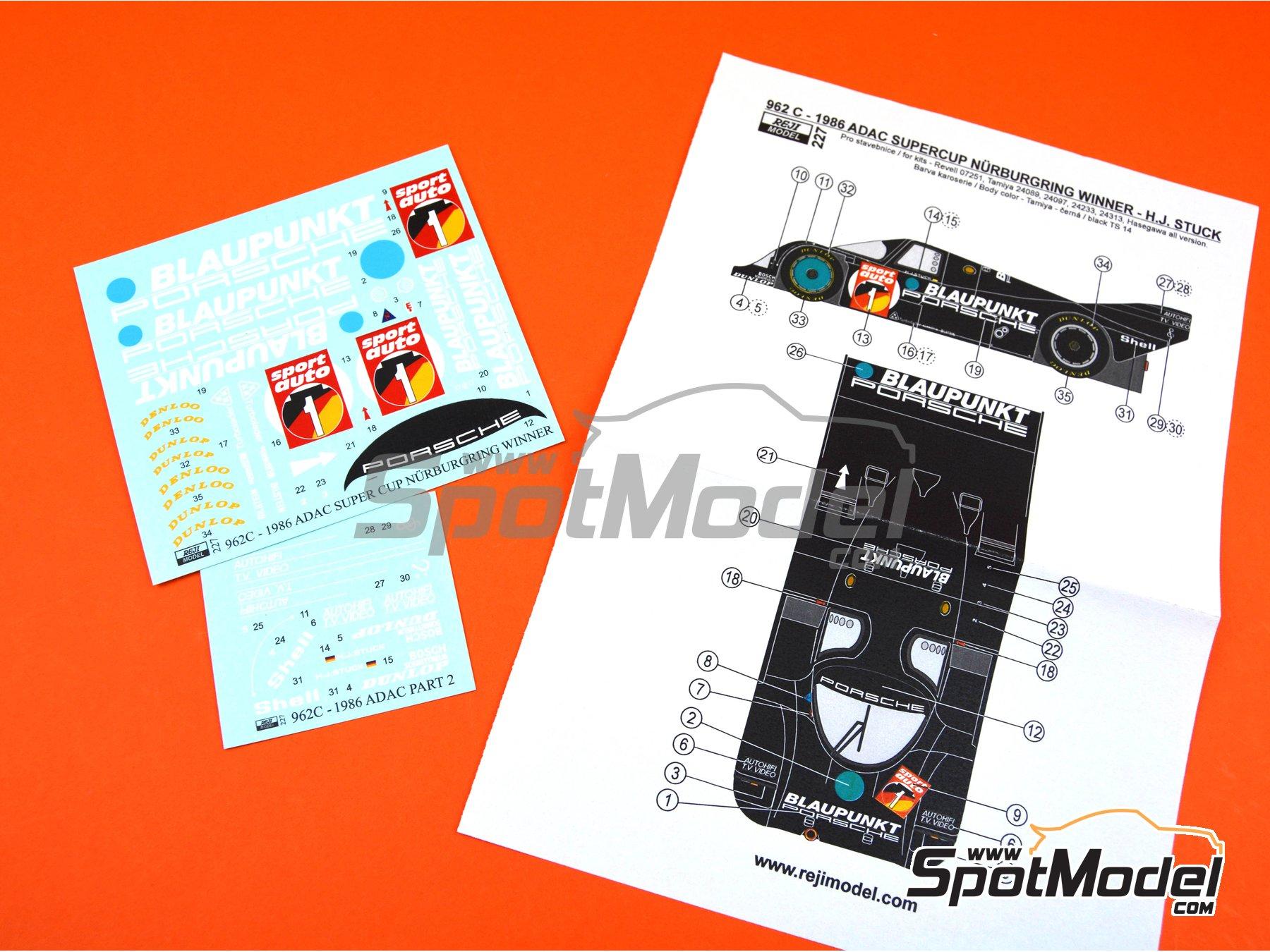 Image 2: Porsche 962C Blaupunkt - ADAC Supercup Nürburing 1986 | Decoración en escala1/24 fabricado por Reji Model (ref.REJI-227)