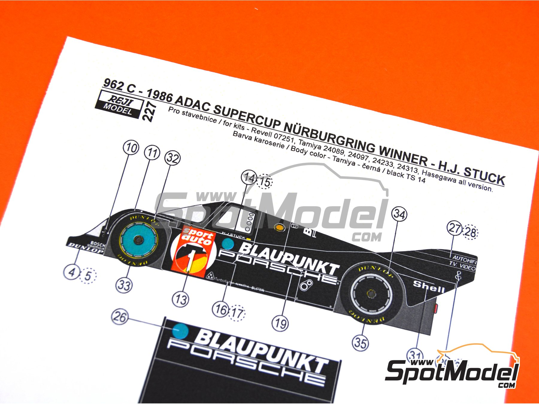 Image 6: Porsche 962C Blaupunkt - ADAC Supercup Nürburing 1986 | Decoración en escala1/24 fabricado por Reji Model (ref.REJI-227)