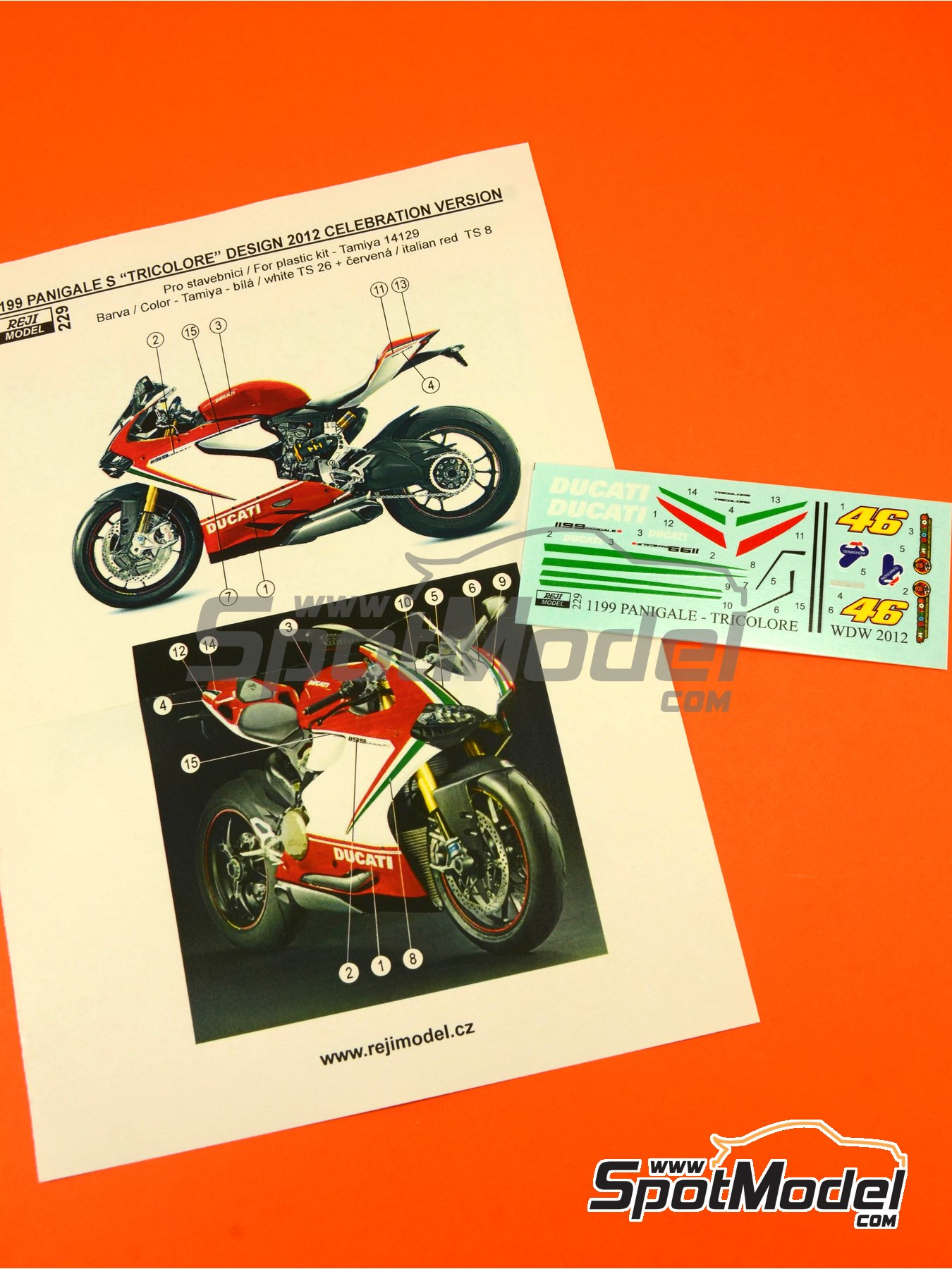 Ducati 1199 Panigale S Tricolore / World Ducati Week -  2012 | Marking / livery in 1/12 scale manufactured by Reji Model (ref. REJI-229) image