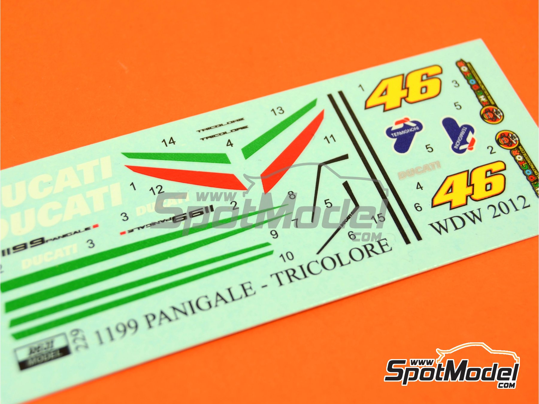 Image 1: Ducati 1199 Panigale S Tricolore / World Ducati Week -  2012 | Marking / livery in 1/12 scale manufactured by Reji Model (ref. REJI-229)