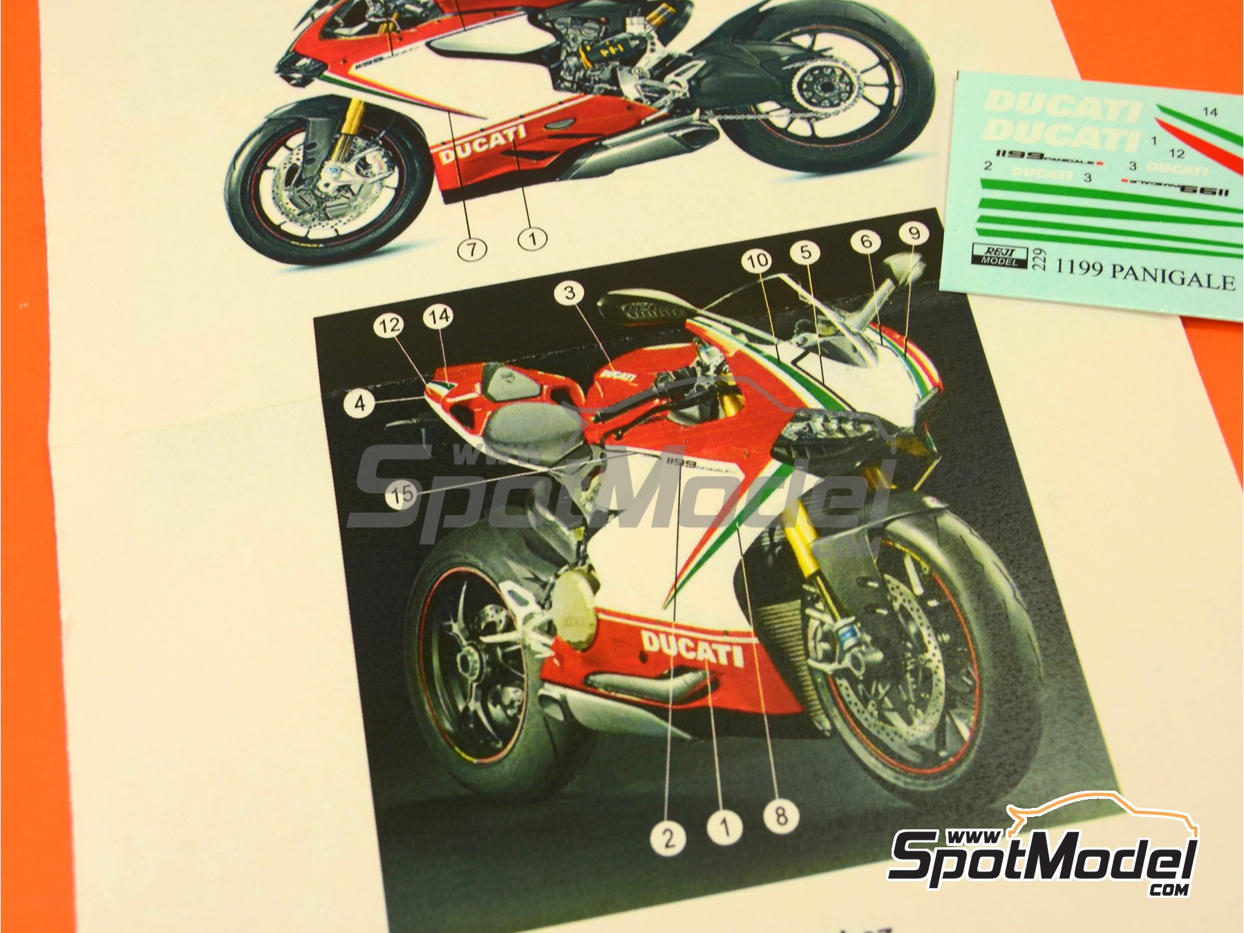 Image 2: Ducati 1199 Panigale S Tricolore / World Ducati Week -  2012 | Marking / livery in 1/12 scale manufactured by Reji Model (ref. REJI-229)