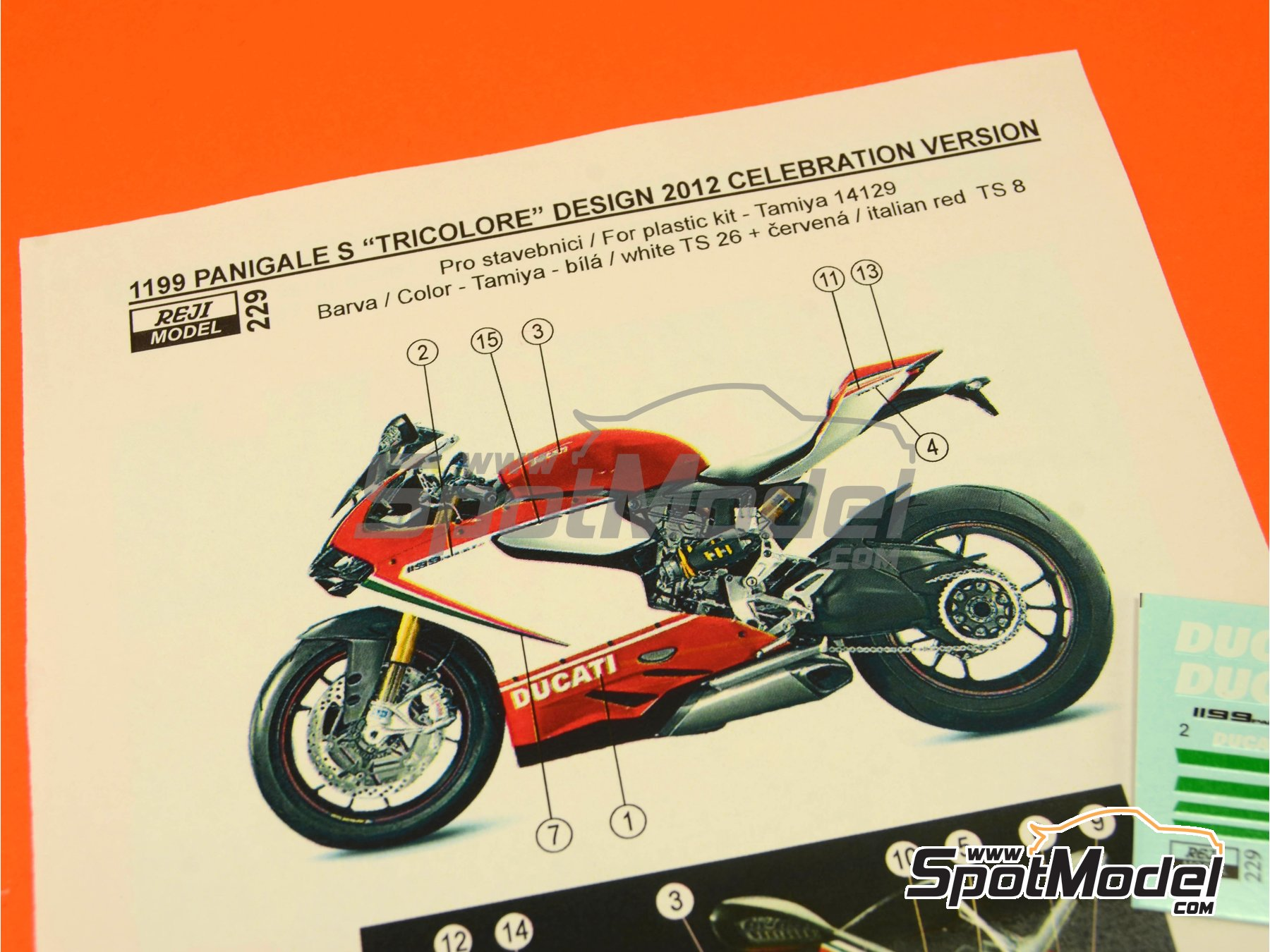 Image 3: Ducati 1199 Panigale S Tricolore / World Ducati Week -  2012 | Marking / livery in 1/12 scale manufactured by Reji Model (ref. REJI-229)