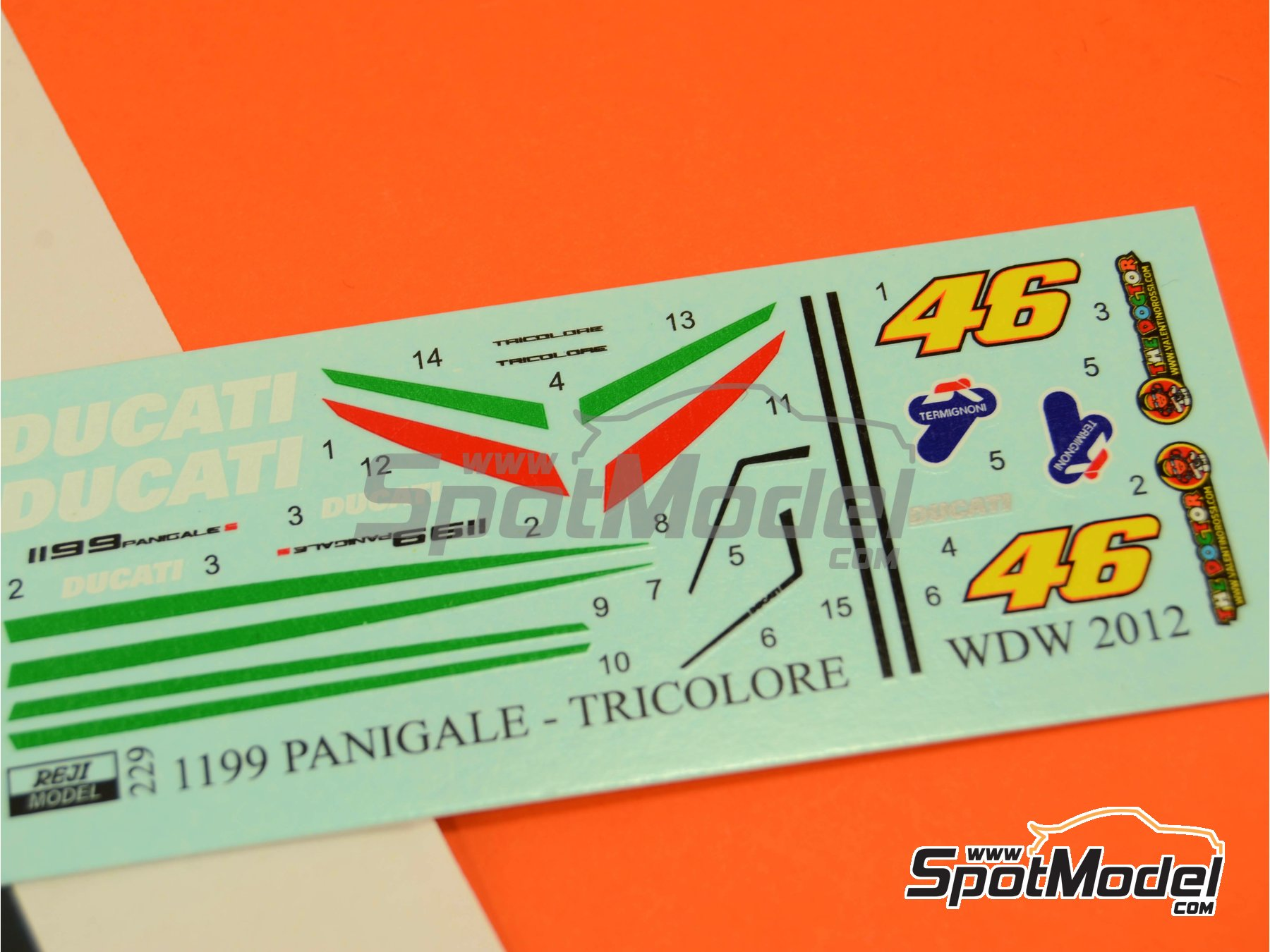 Image 4: Ducati 1199 Panigale S Tricolore / World Ducati Week -  2012 | Marking / livery in 1/12 scale manufactured by Reji Model (ref. REJI-229)
