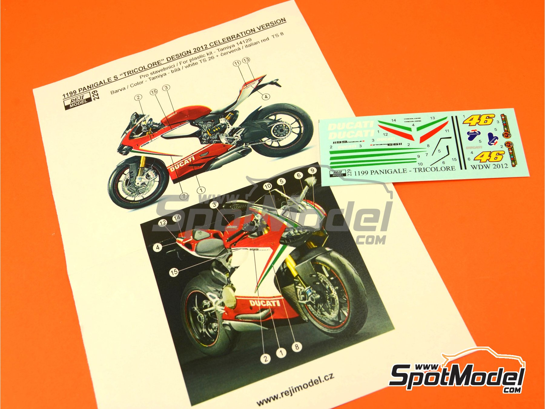 Image 5: Ducati 1199 Panigale S Tricolore / World Ducati Week -  2012 | Marking / livery in 1/12 scale manufactured by Reji Model (ref. REJI-229)