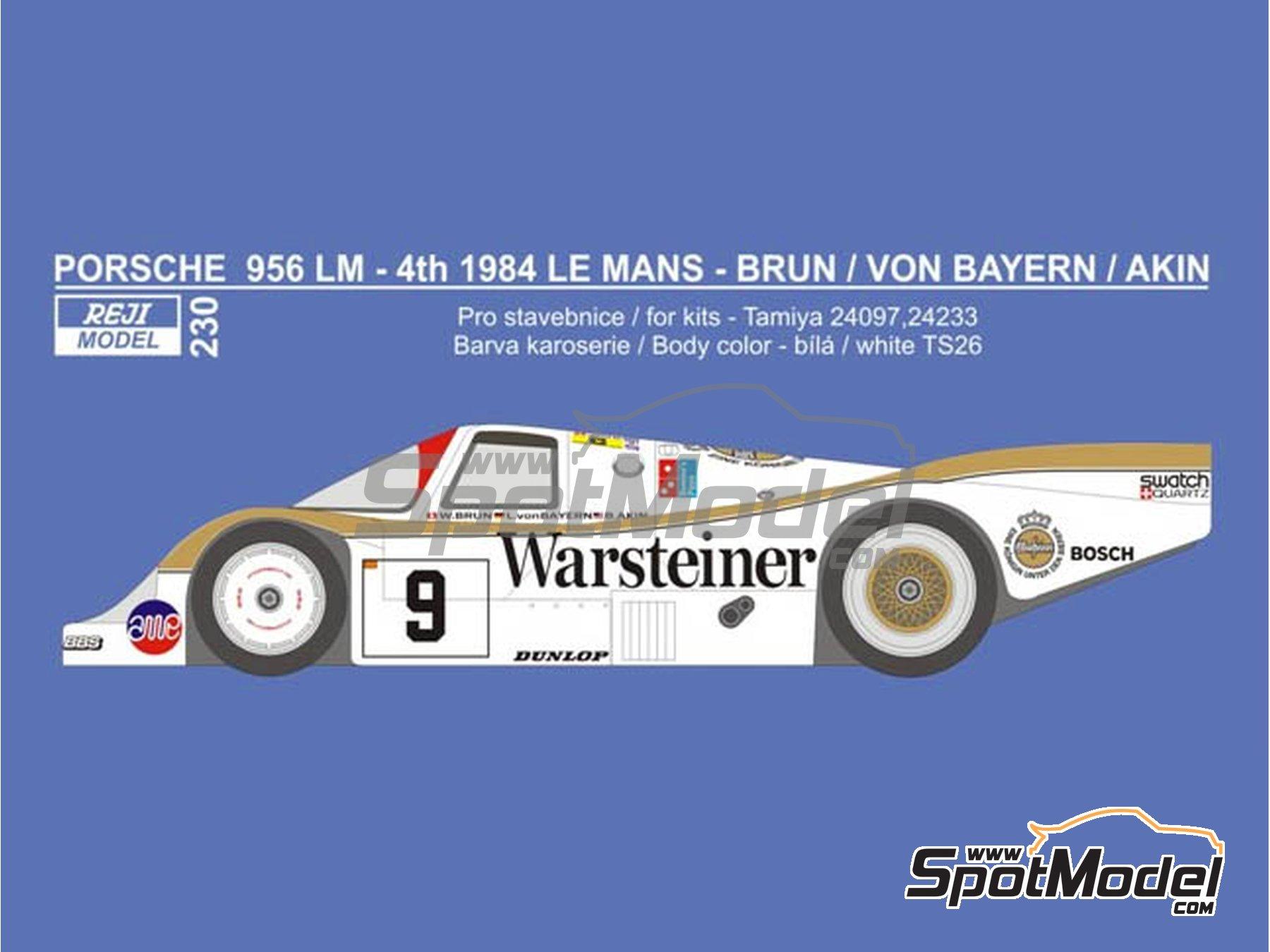 Image 1: Porsche 956 Warsteiner - 24 Horas de Le Mans 1984 | Decoración en escala1/24 fabricado por Reji Model (ref.REJI-230)